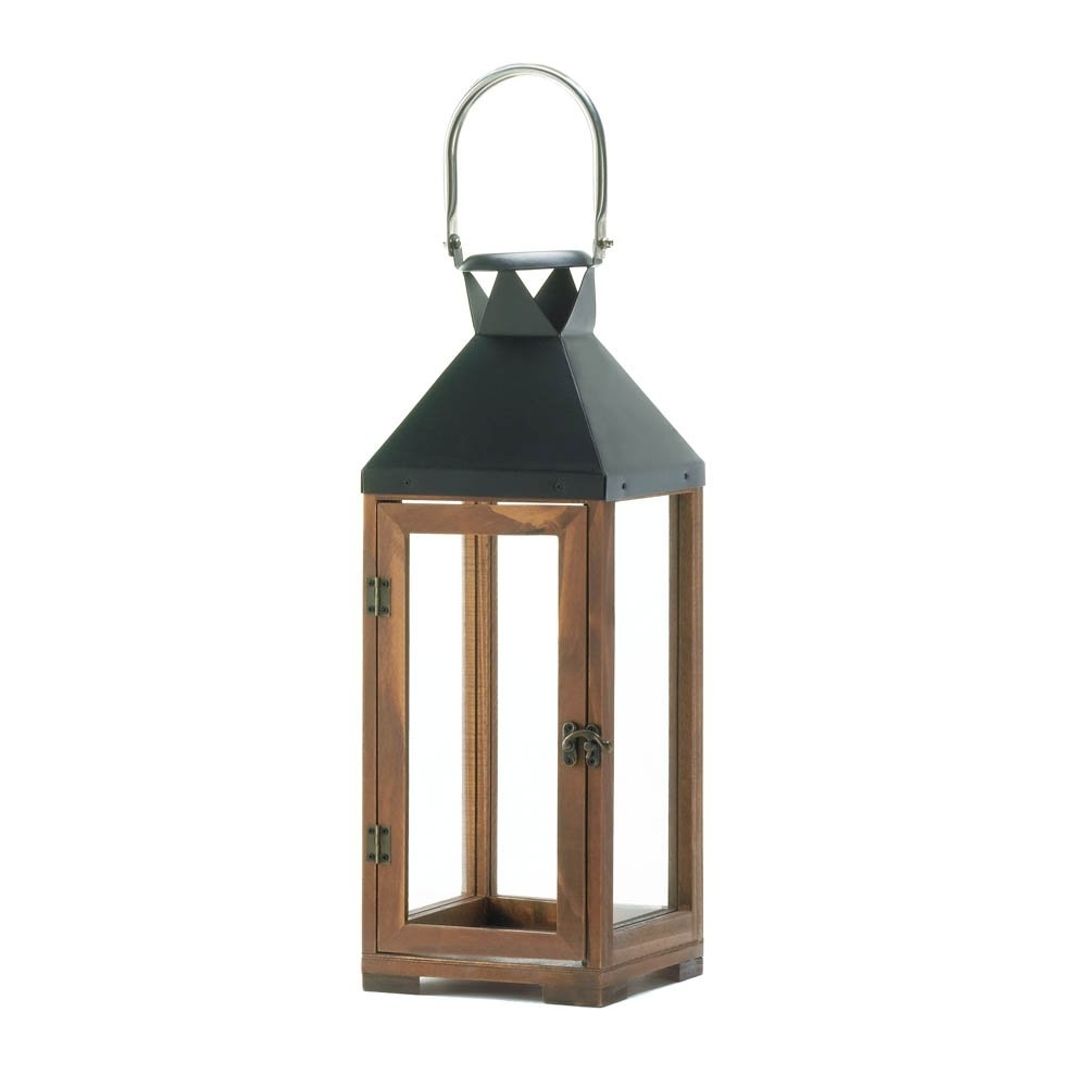 Decorative Candle Lanterns, Pine Wood Rustic Wooden Candle Lantern pertaining to Outdoor Glass Lanterns (Image 5 of 20)