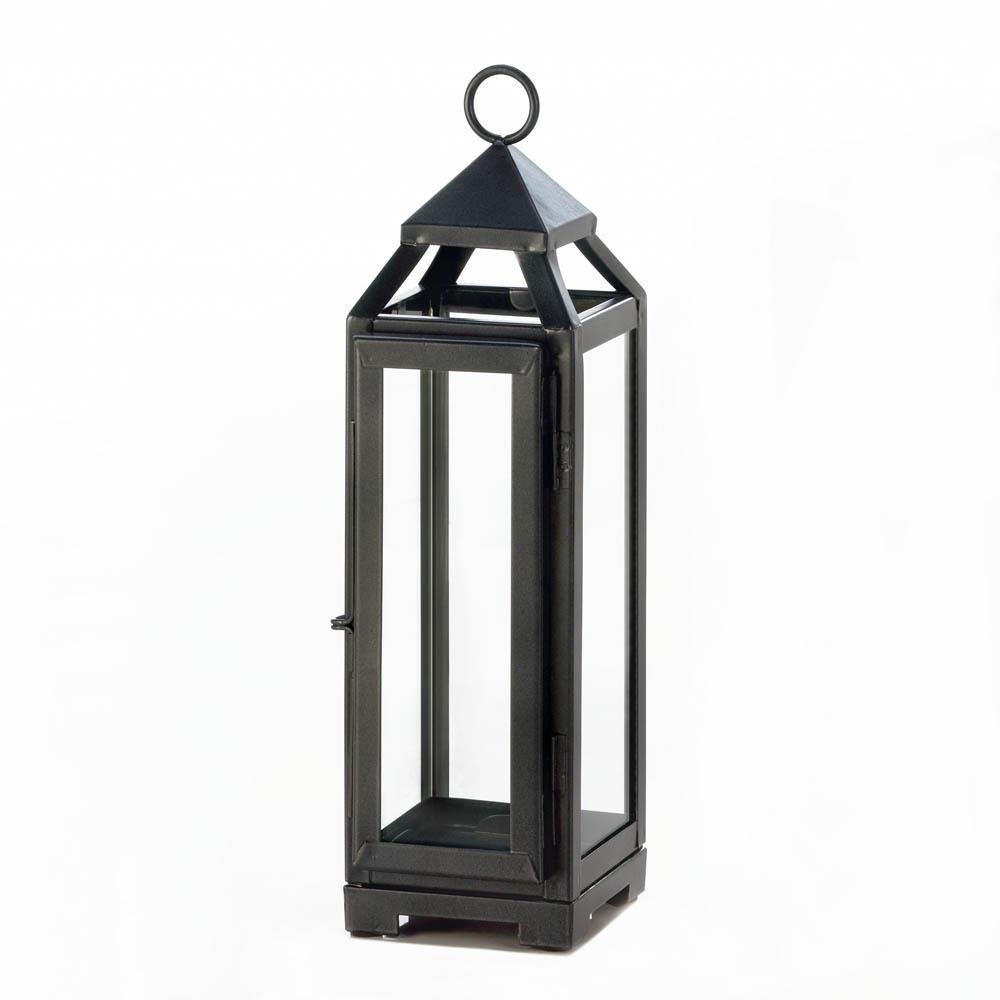 Decorative Candle Lanterns, Rustic Patio Tall Slate Black Metal pertaining to Outdoor Vintage Lanterns (Image 7 of 20)