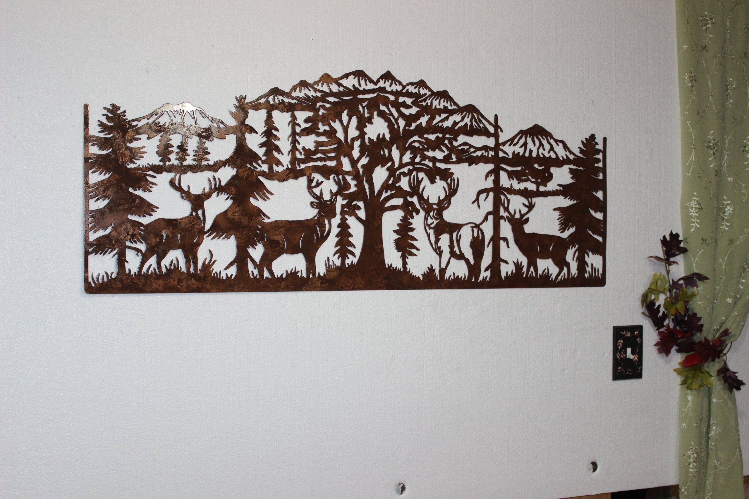 Deer And Mountain Scene With 4 Majestic Bucks Large Metal Wall Art intended for Large Metal Wall Art (Image 4 of 20)