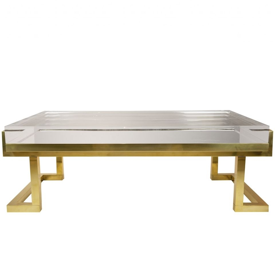 Dering Hall - Buy Acrylic & Brass Coffee Table - Coffee And Cocktail for Acrylic & Brushed Brass Coffee Tables (Image 11 of 20)