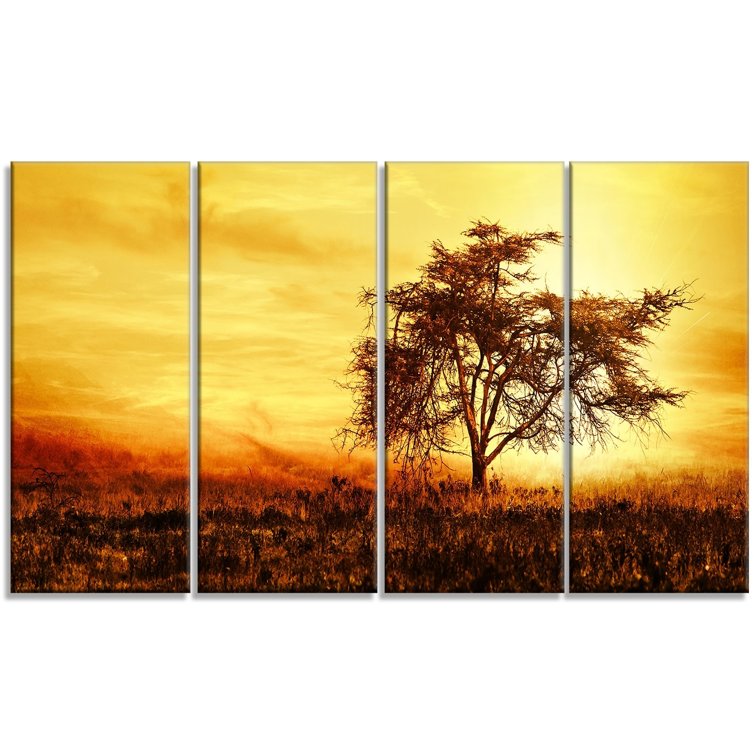 Designart 'african Tree Silhouette' 4 Piece Wall Art On Wrapped For 4 Piece Wall Art (View 14 of 20)