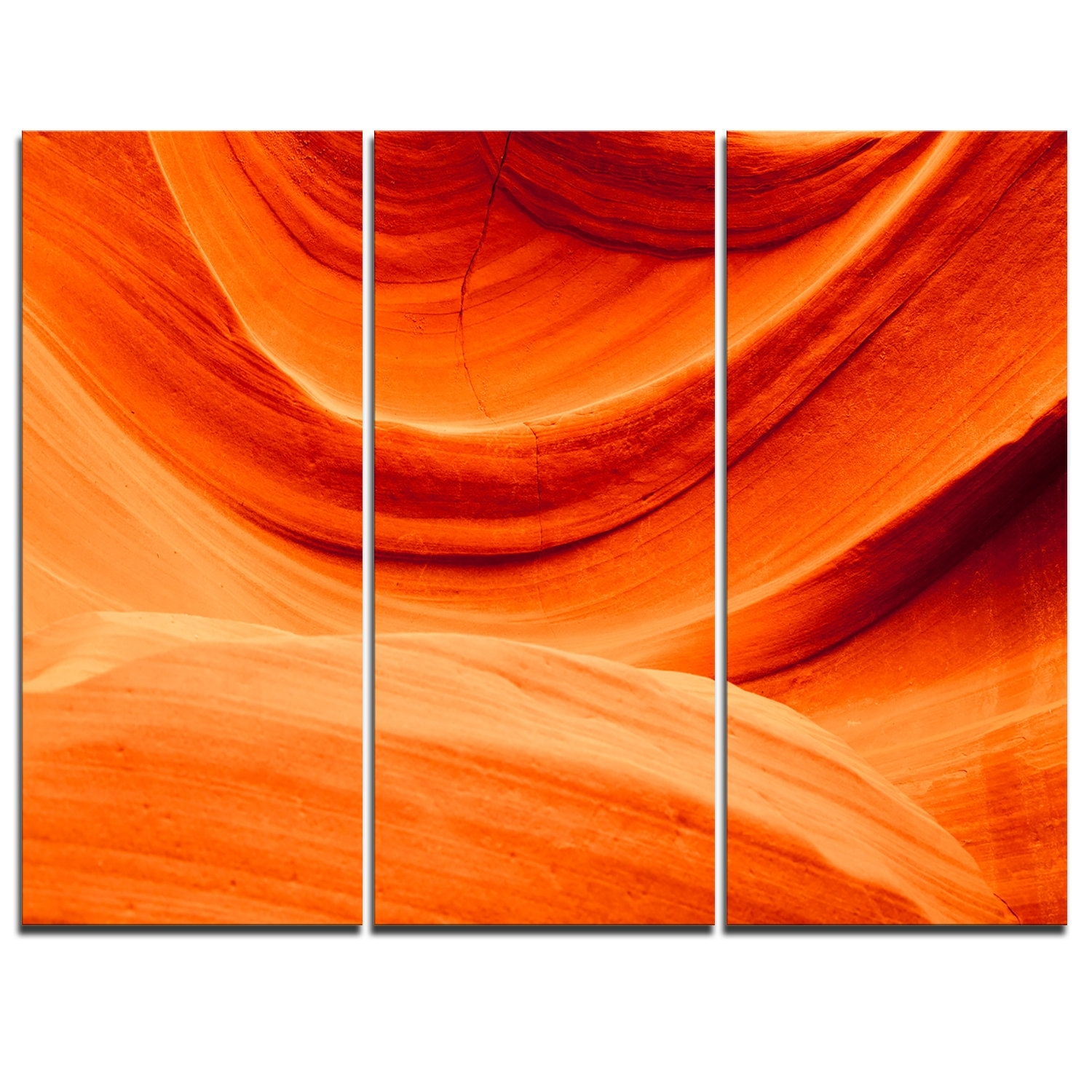 Designart Antelope Canyon Orange Wall - 3 Piece Graphic Art On regarding Orange Wall Art (Image 9 of 20)