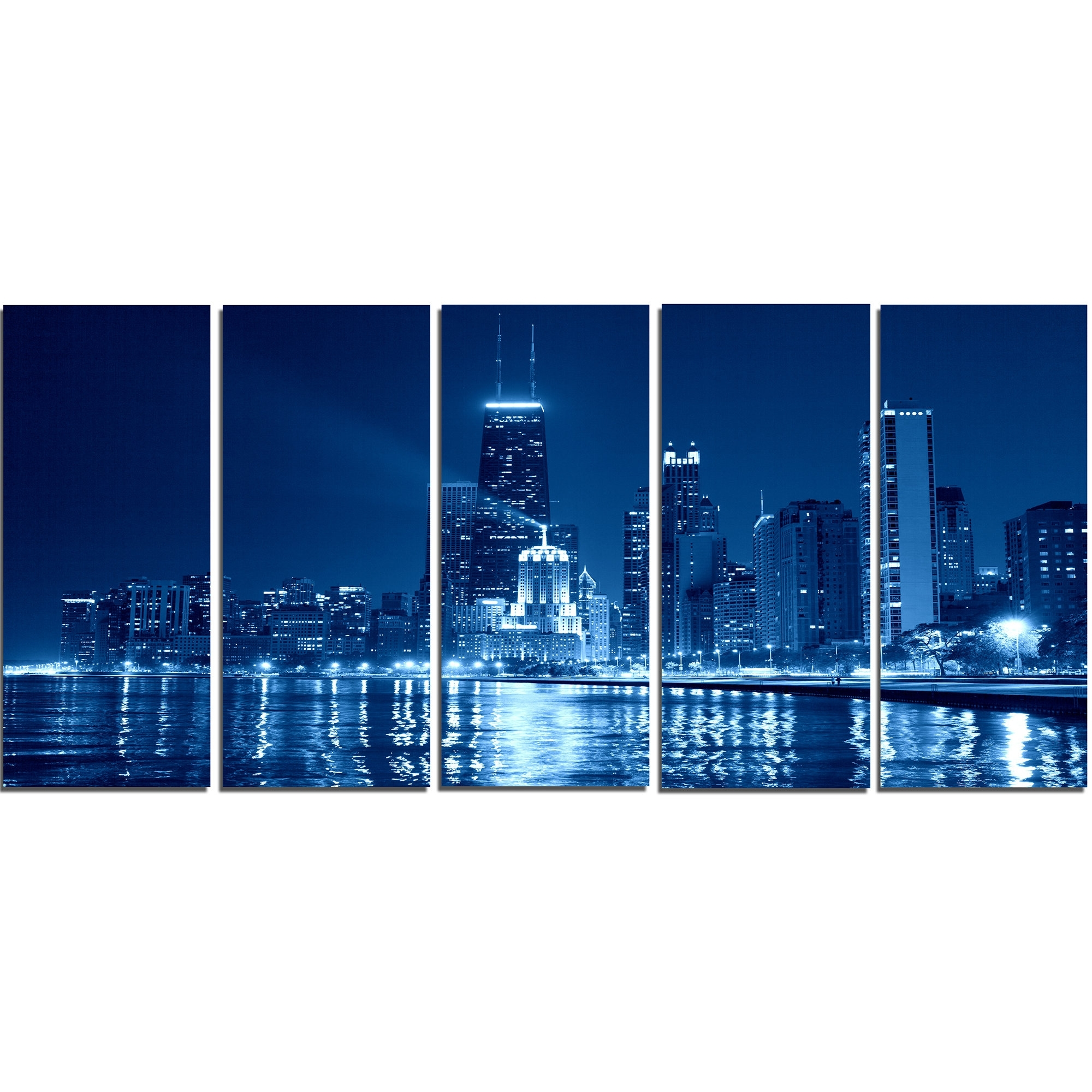 Designart Blue Chicago Skyline Night 5 Piece Wall Art On Wrapped intended for Chicago Wall Art (Image 14 of 20)