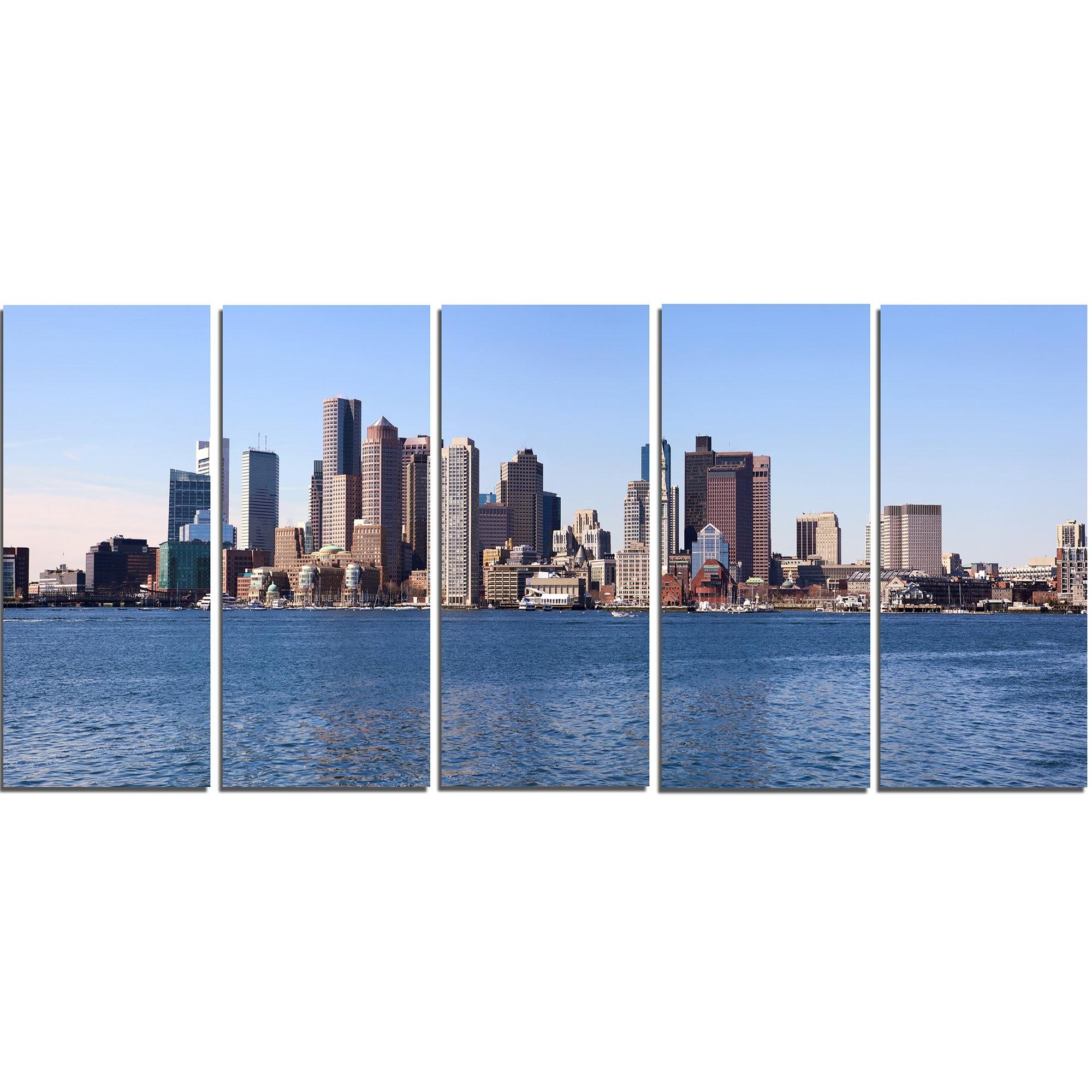 Designart Boston Skyline Panorama 5 Piece Wall Art On Wrapped Canvas Within Boston Wall Art (View 10 of 20)