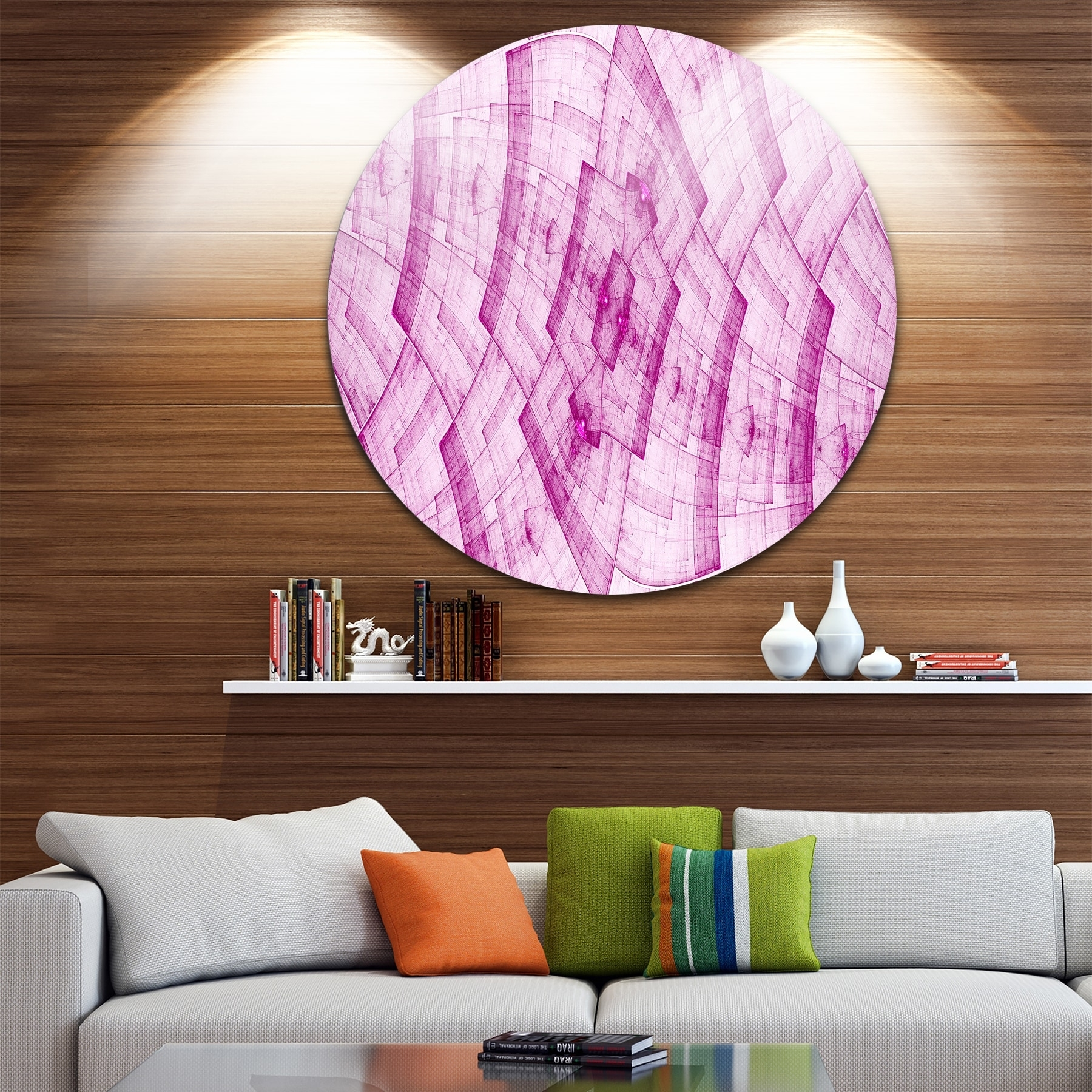 Designart 'light Pink Psychedelic Fractal Metal Grid' Abstract Intended For Circle Wall Art (View 11 of 20)
