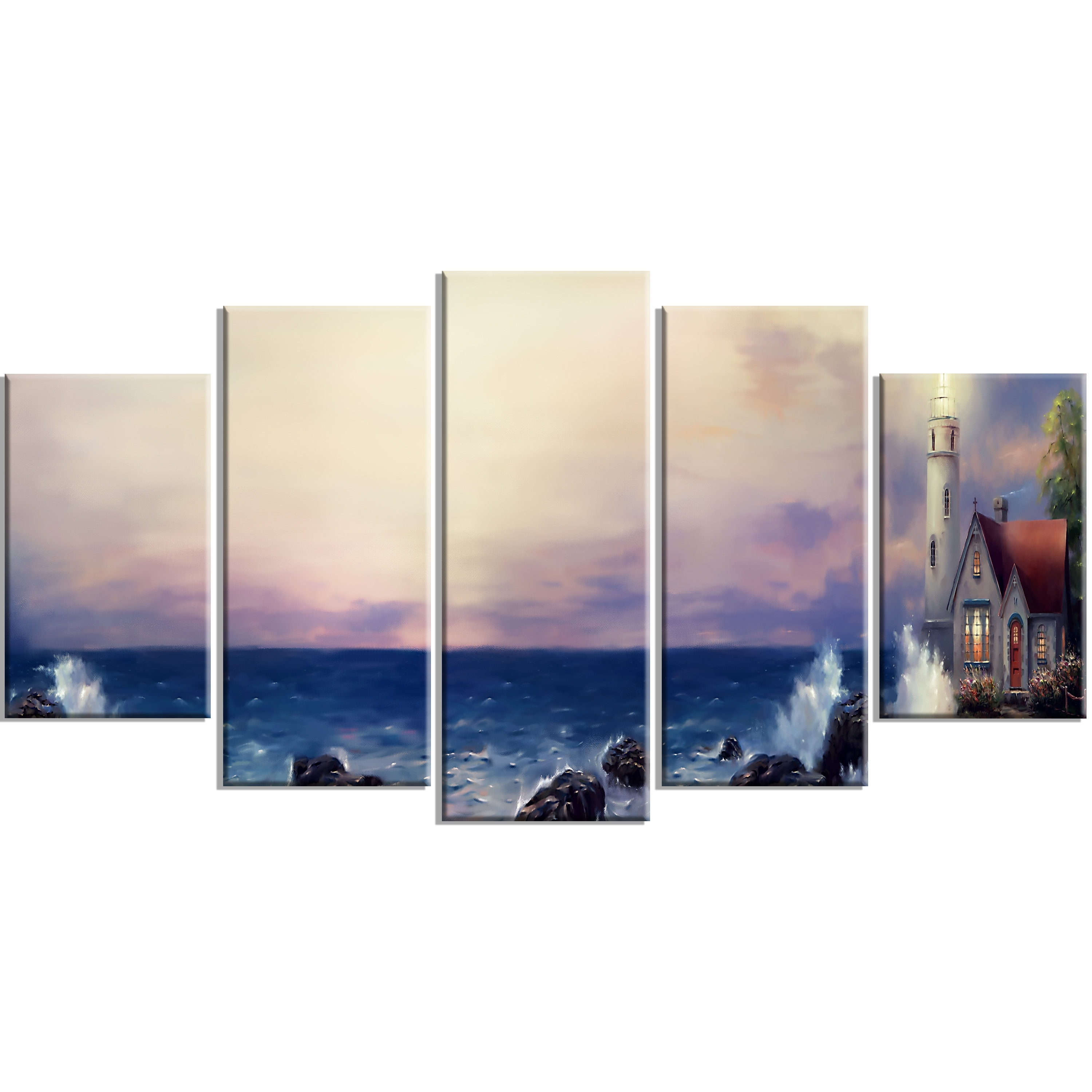 Designart 'lighthouse Sea Panoramic' 5 Piece Wall Art On Wrapped Intended For 5 Piece Wall Art Canvas (View 12 of 20)