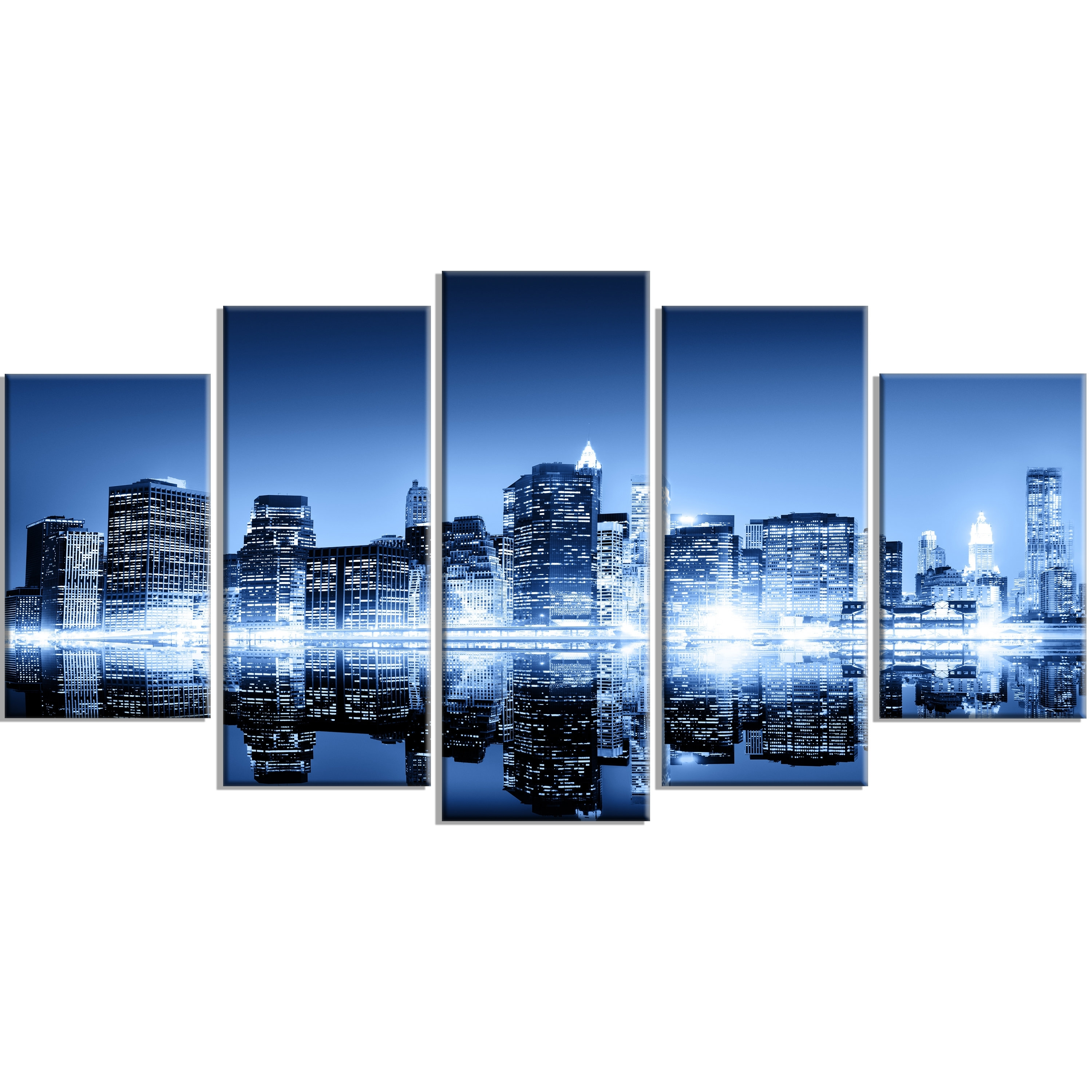 Designart 'night New York City Mirrored' 5 Piece Wall Art On Wrapped intended for New York City Wall Art (Image 8 of 20)