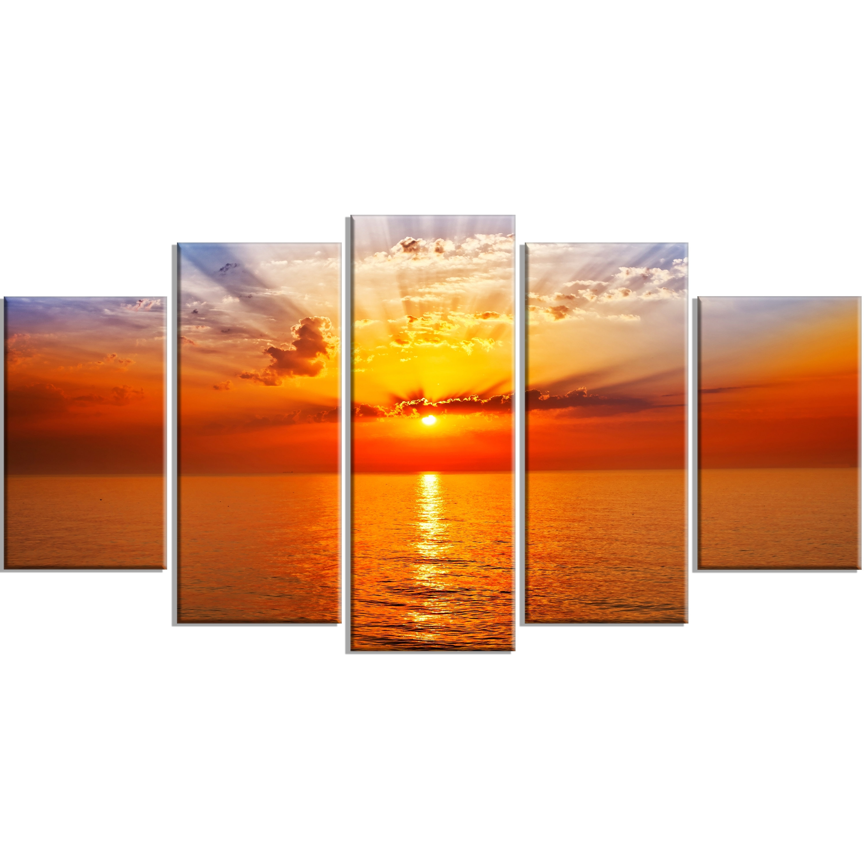 Designart 'orange Sea Sunrise Under Blue Sky' 5 Piece Wall Art On for Orange Wall Art (Image 8 of 20)