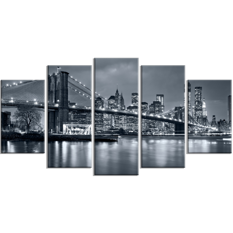 Designart 'panorama New York City At Night' 5 Piece Wall Art On throughout New York City Wall Art (Image 9 of 20)