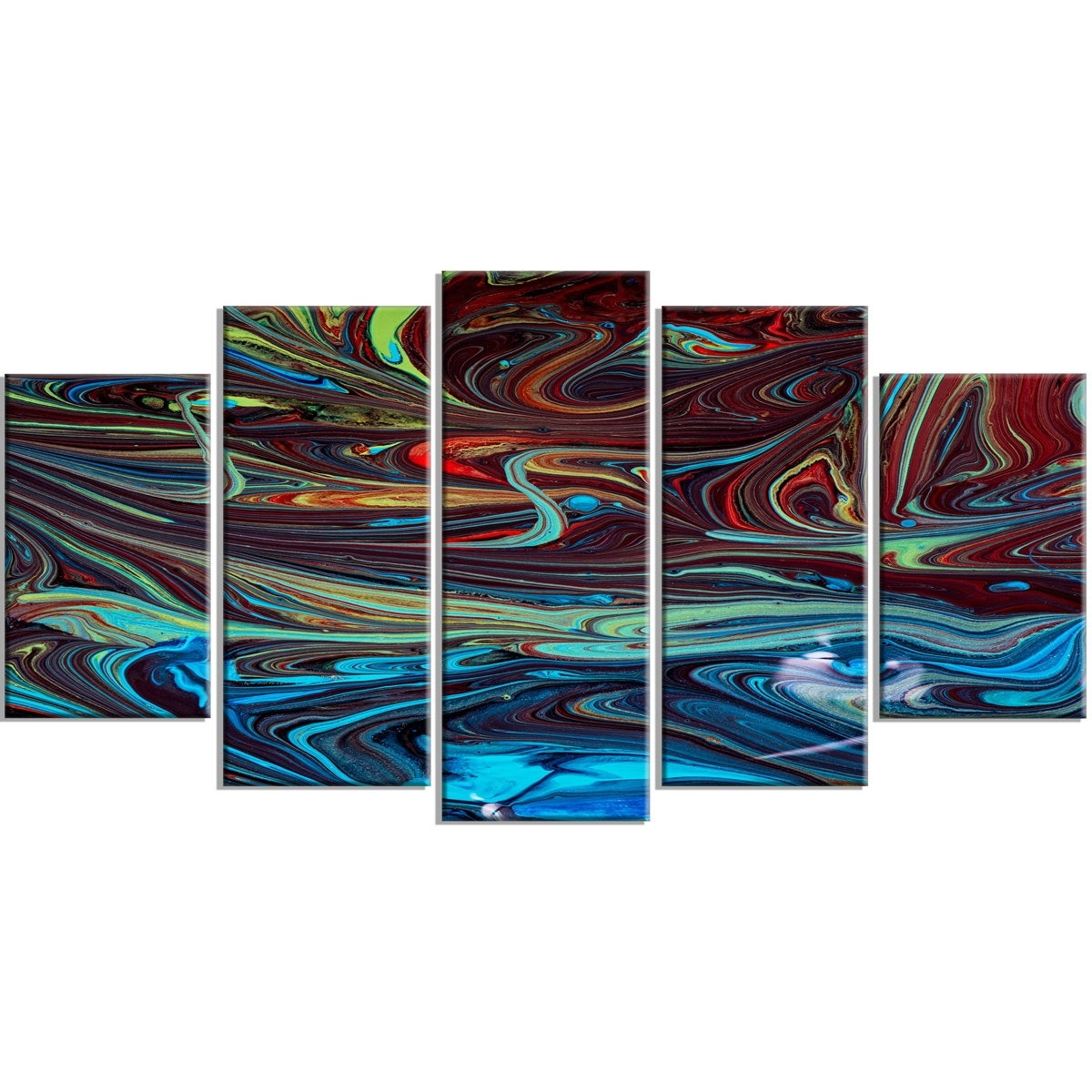 Designart 'red Blue Abstract Acrylic Paint Mix' 5 Piece Wall Art On Within 5 Piece Wall Art Canvas (View 13 of 20)