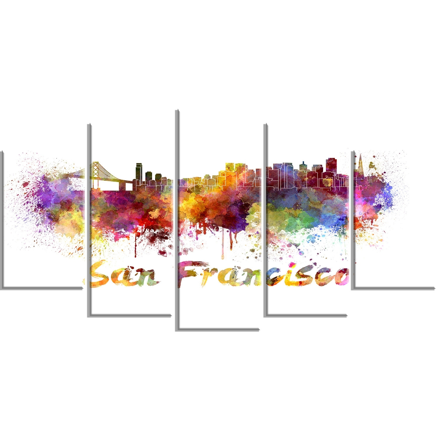 Designart 'san Francisco Skyline' 5 Piece Wall Art On Wrapped Canvas with regard to San Francisco Wall Art (Image 7 of 20)