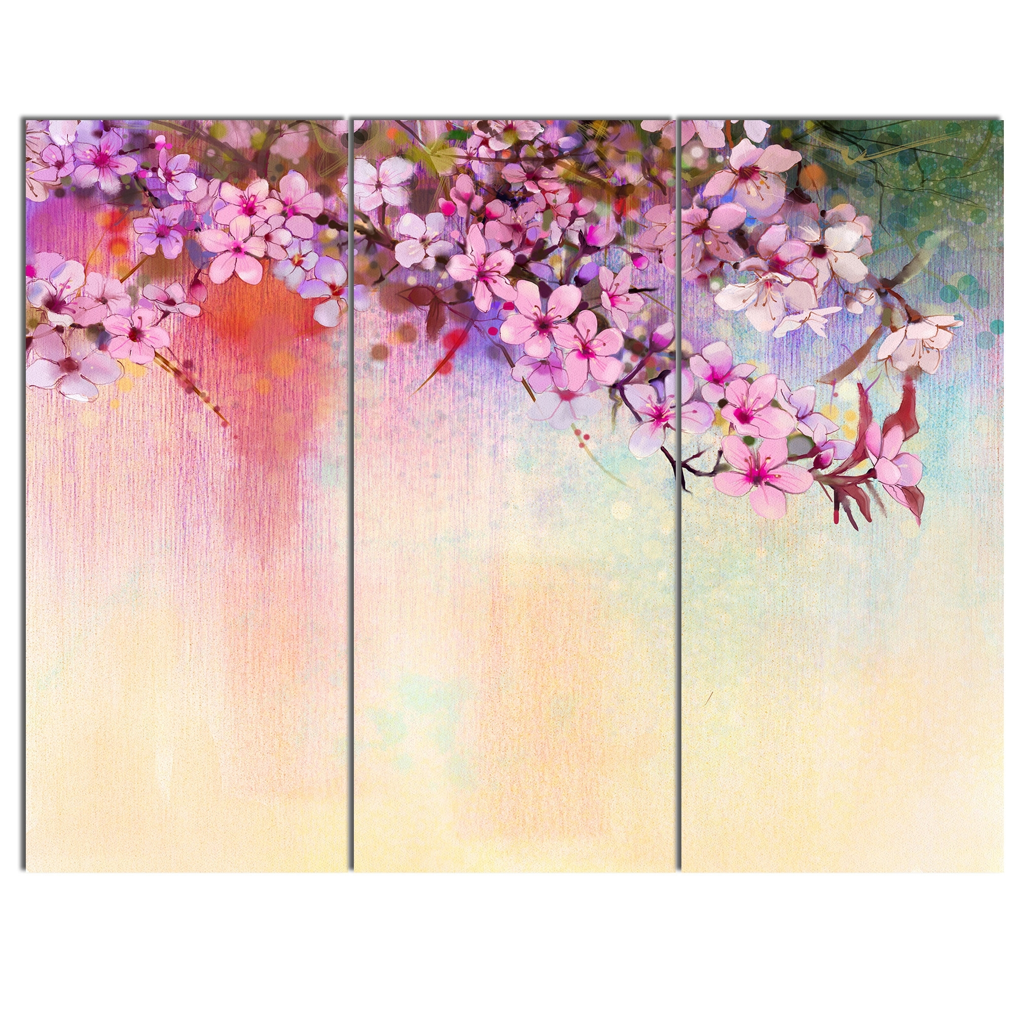 Designart 'watercolor Painting Cherry Blossoms' 3 Piece Wall Art On throughout Cherry Blossom Wall Art (Image 12 of 20)