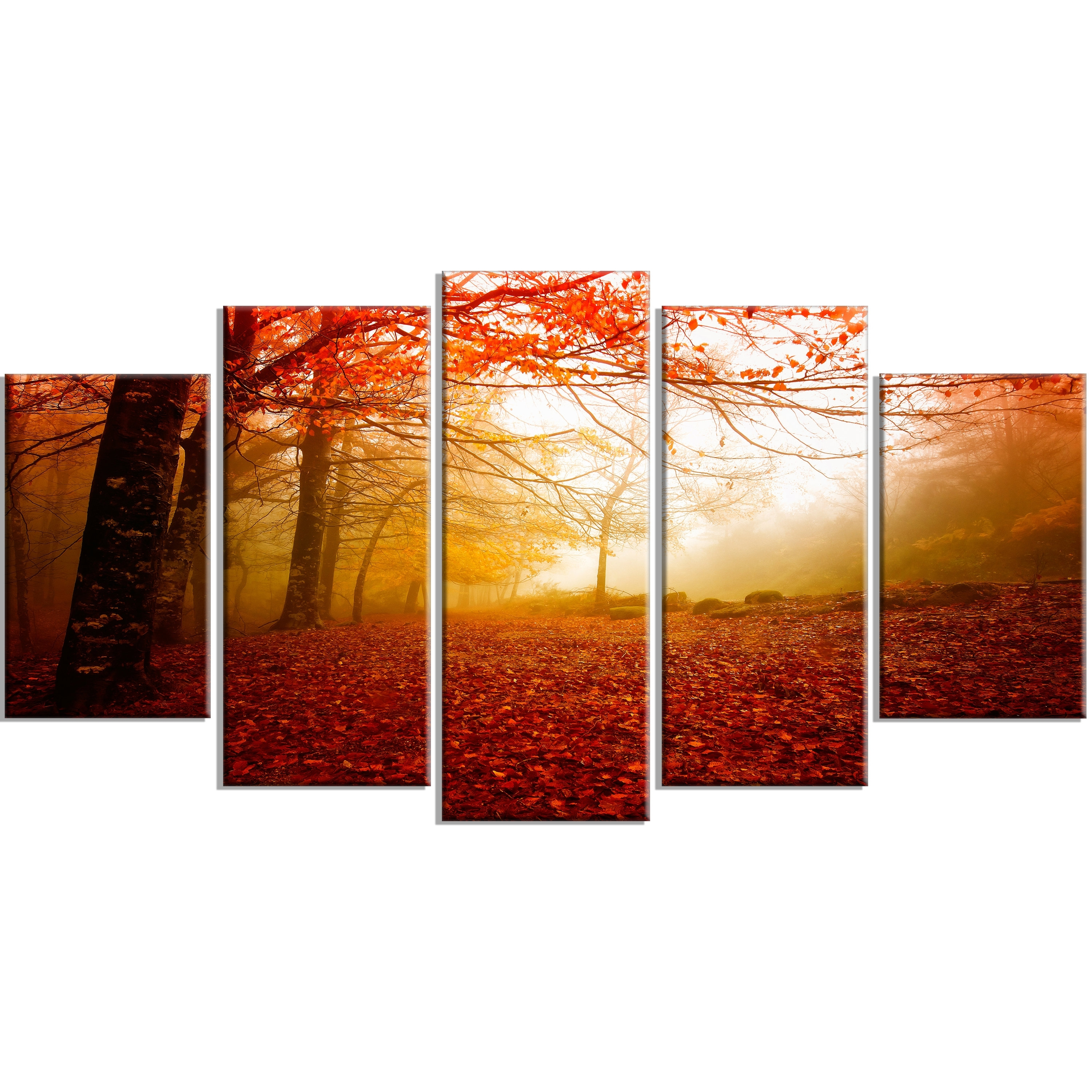 Designart 'yellow Sun Rays In Red Forest' 5 Piece Wall Art On Pertaining To 5 Piece Wall Art Canvas (View 14 of 20)