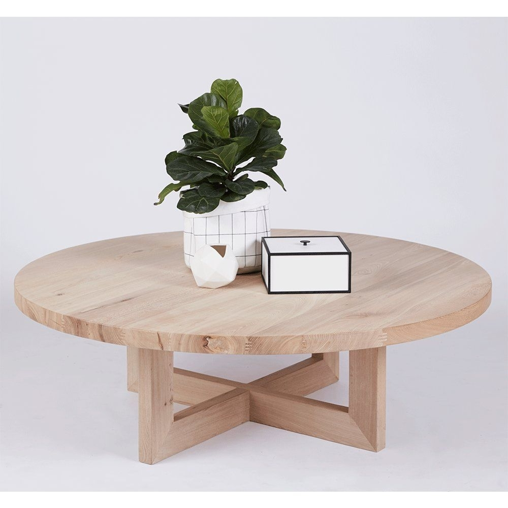 Designer Bondi Round Oak Coffee Table – Solid Timber Accent Tables With Contemporary Curves Coffee Tables (View 14 of 30)