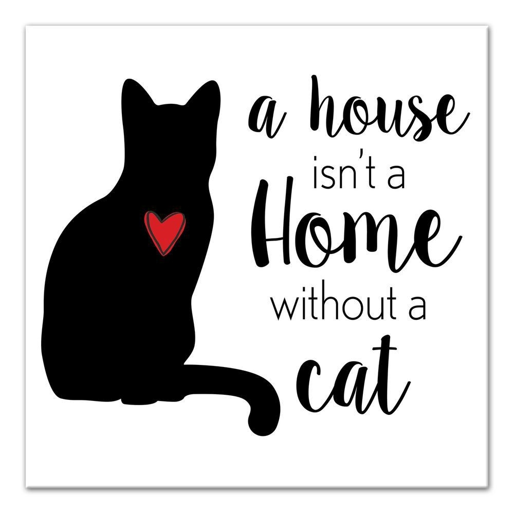 Designs Direct 12 In. X 12 In. ''house Home Cat'' Printed Canvas inside Cat Canvas Wall Art (Image 12 of 20)
