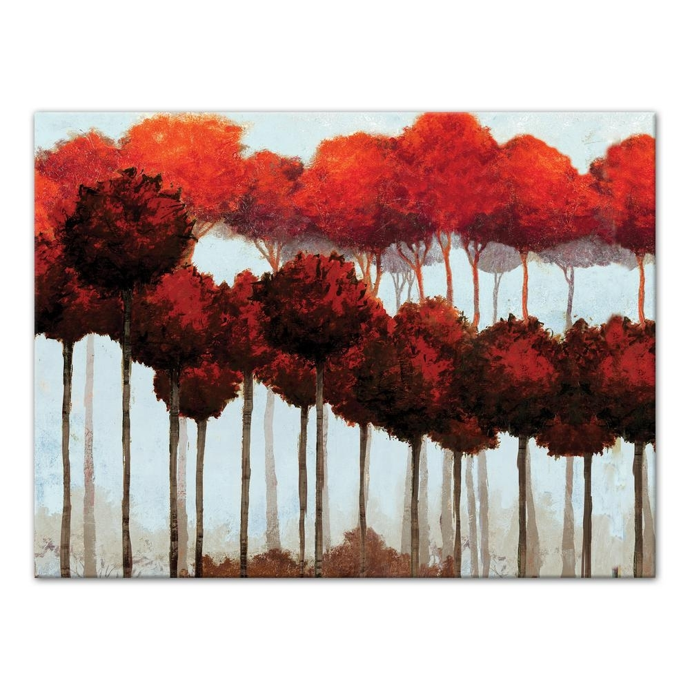 Designs Direct 18 In. X 24 In. ''lines Of Red Trees'' Printed Canvas regarding Red Canvas Wall Art (Image 11 of 20)