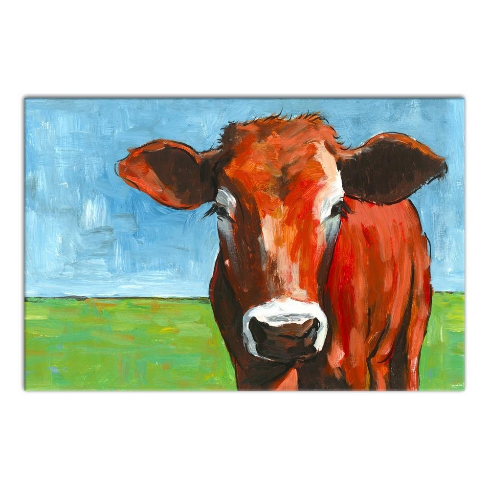 Designs Direct 20 In. X 30 In. ''big Brown Cow'' Printed Canvas Wall intended for Cow Canvas Wall Art (Image 13 of 20)