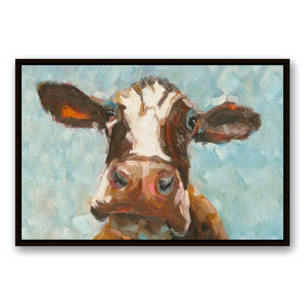 Designs Direct 24 In. X 36 In. ''curious Cow 1'' Printed Framed with regard to Cow Canvas Wall Art (Image 14 of 20)