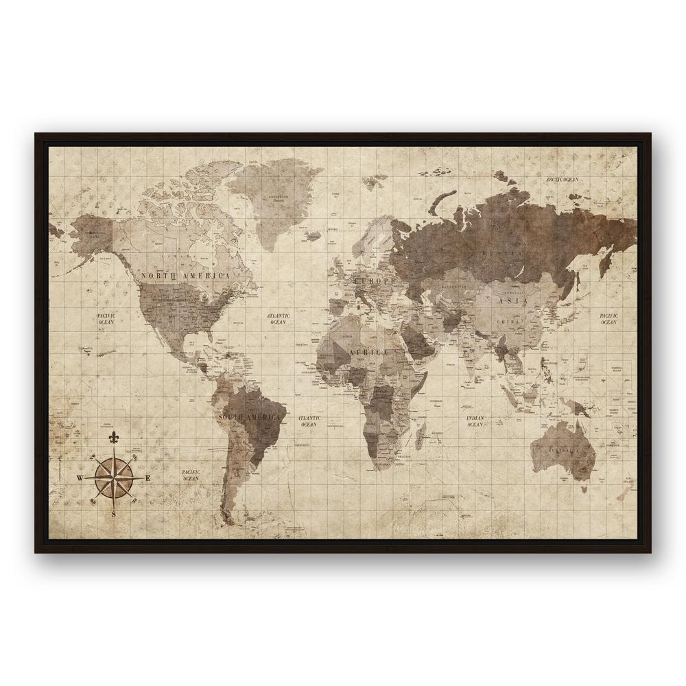 Designs Direct 24 In. X 36 In. ''distressed World Map'' Printed for Map of the World Wall Art (Image 3 of 20)