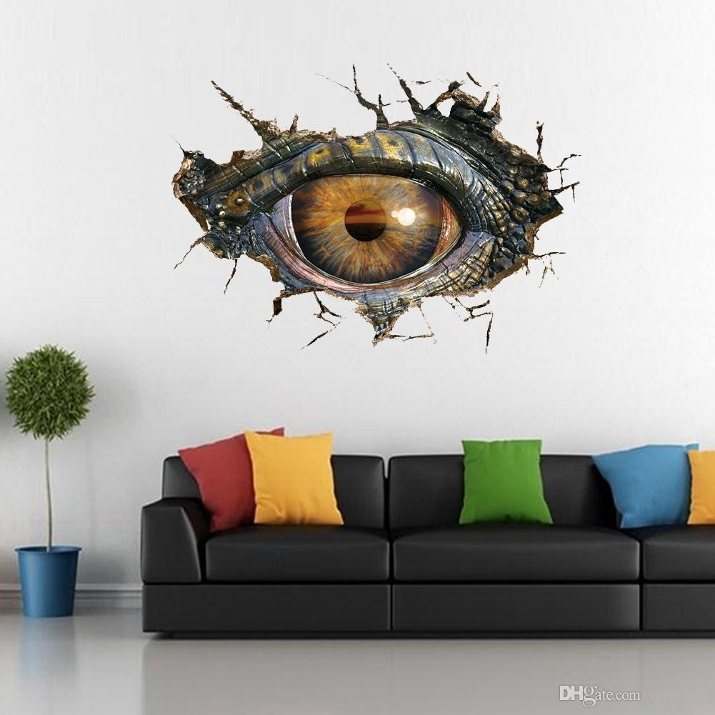 Dinosaur Eyes 3D Wall Stickers Creative Personality Sitting Room In 3D Wall Art (View 11 of 20)