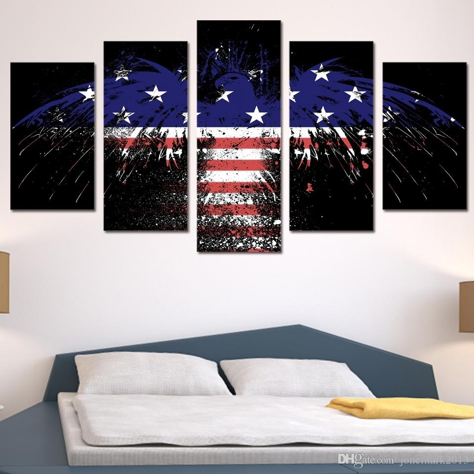Discount Framed Hd Printed American Flag Eagle Wall Art Poster Regarding Discount Wall Art (View 6 of 20)