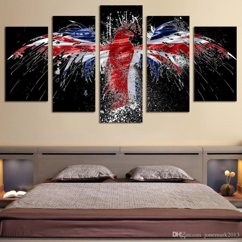 Discount Framed Hd Printed Flag Bird Logo Eagle Wall Art Canvas with regard to Bird Framed Canvas Wall Art (Image 9 of 20)