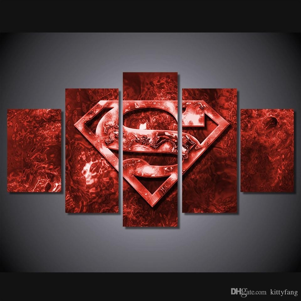 Discount Framed Hd Printed Red Superman Art Picture Wall Art Canvas Within Discount Wall Art (View 13 of 20)