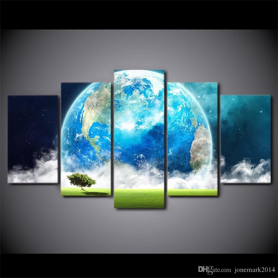 Discount Hd Printed Canvas Art Blue Earth Planet Modern Abstract inside Modern Abstract Painting Wall Art (Image 12 of 20)