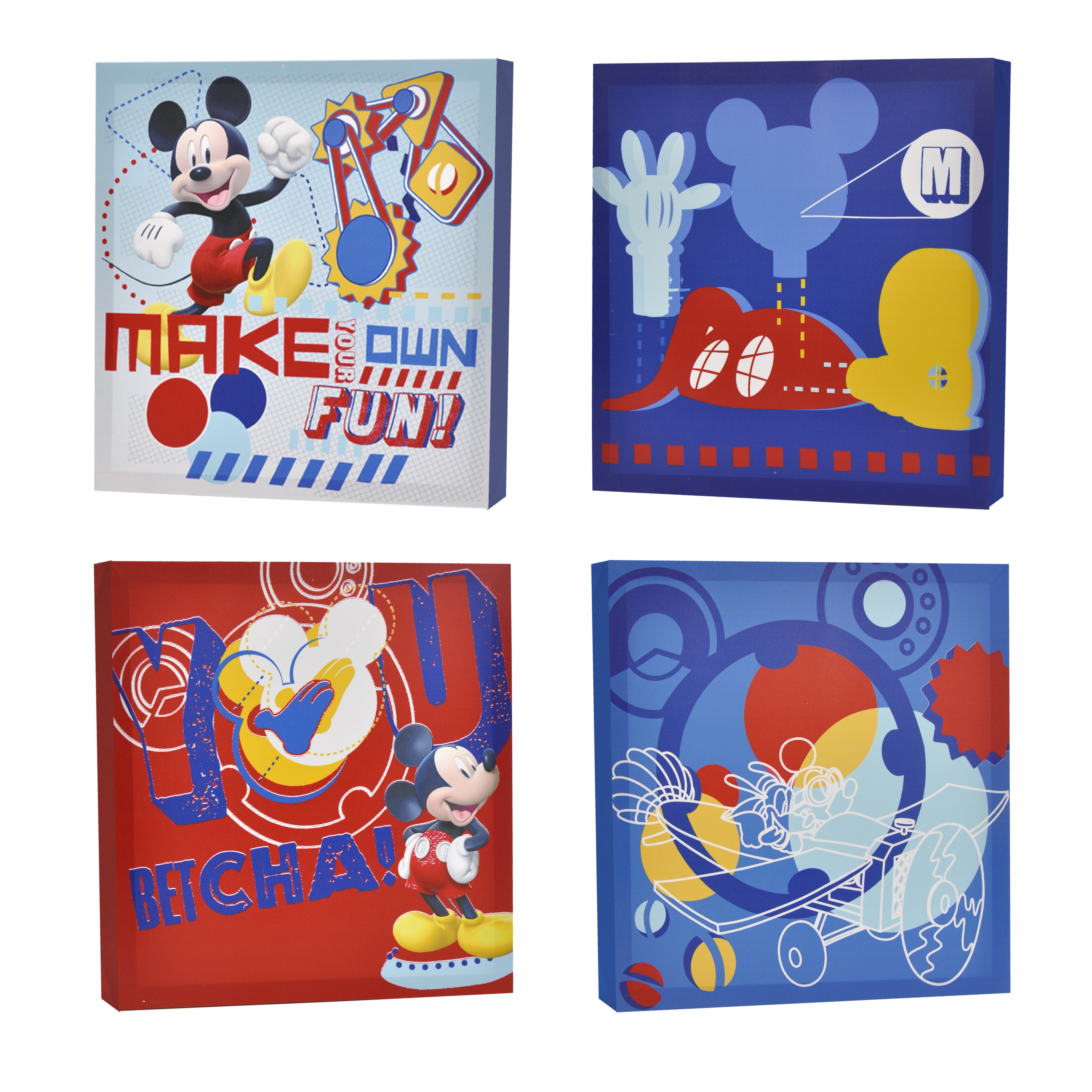 Disney Mickey Mouse Canvas Wall Art (4-Piece) For Your Reference with Mickey Mouse Canvas Wall Art (Image 6 of 20)
