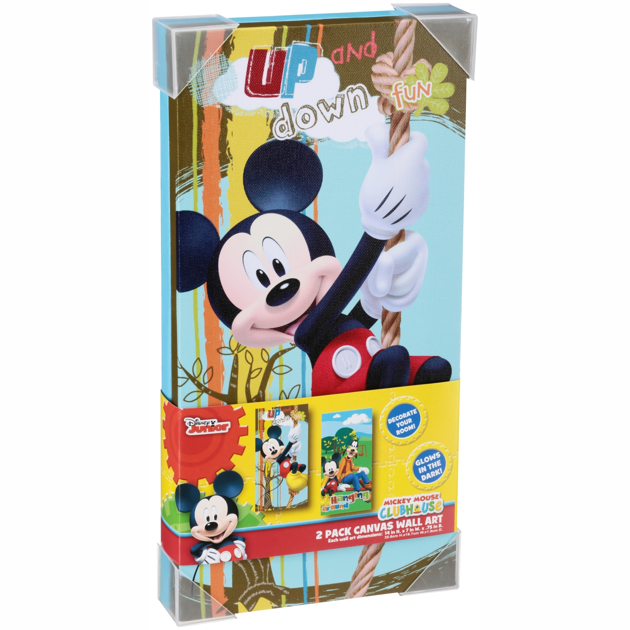 Disney Mickey Mouse Glow In The Dark 2-Pack Canvas Wall Art with Mickey Mouse Canvas Wall Art (Image 7 of 20)