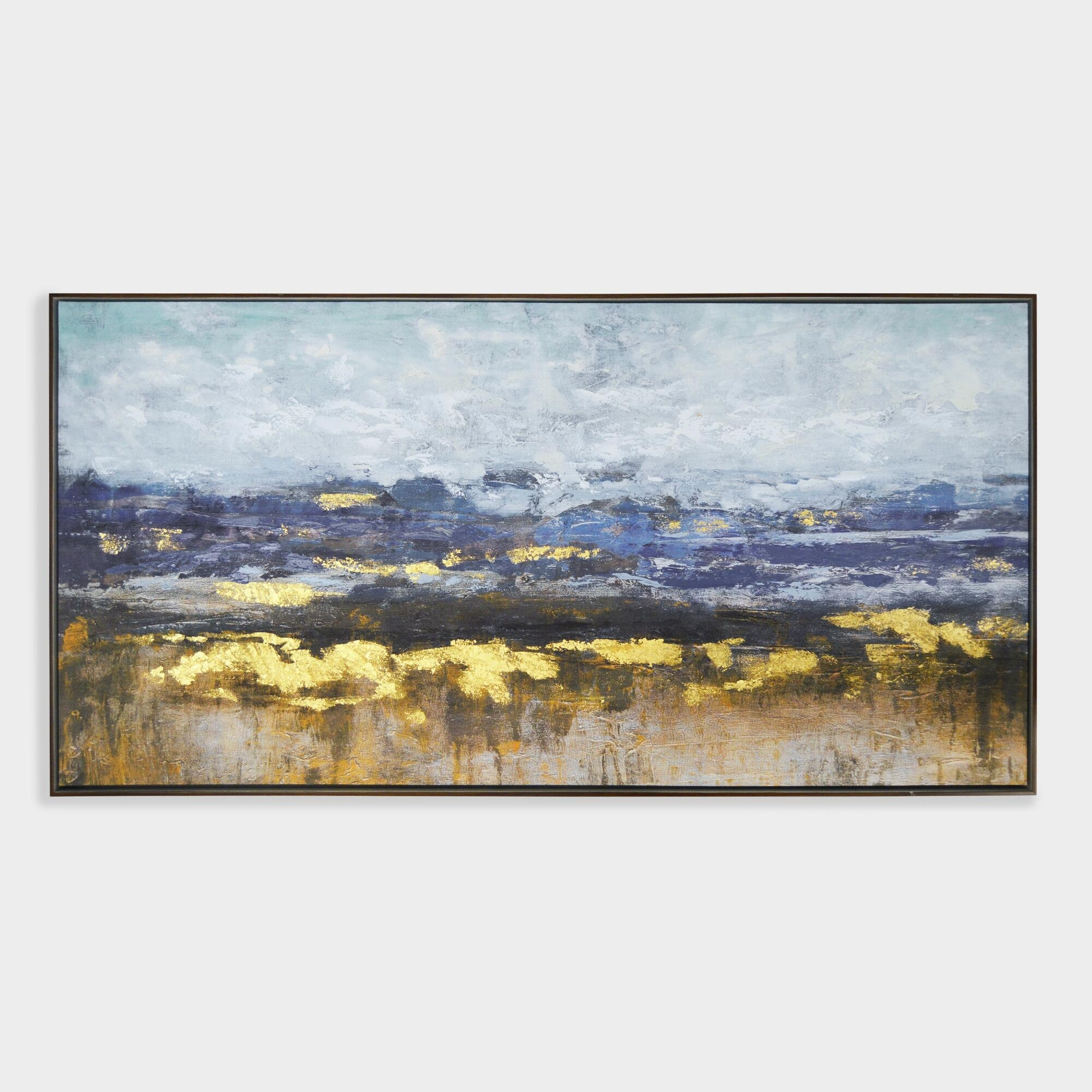 Distant Landscape Wall Art In Brown Frame: Blue/goldworld Market Intended For World Market Wall Art (View 14 of 20)