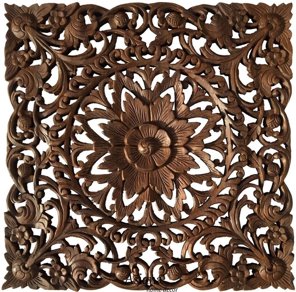 Distinctive Asian Home Decor Wall Art Wood Carved Plaques As On With Wood Carved Wall Art (View 16 of 20)