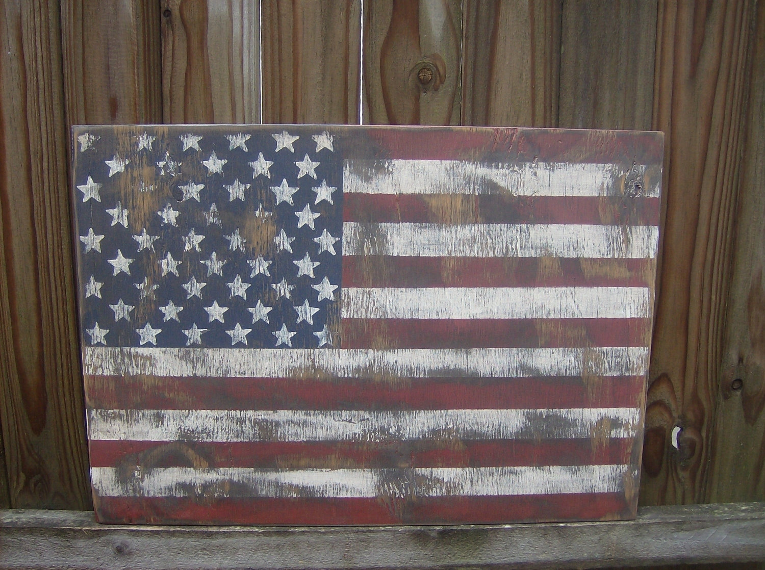 Distressed American Flag Wall Decor, American Flag Wall Art - Swinki intended for Vintage American Flag Wall Art (Image 8 of 20)