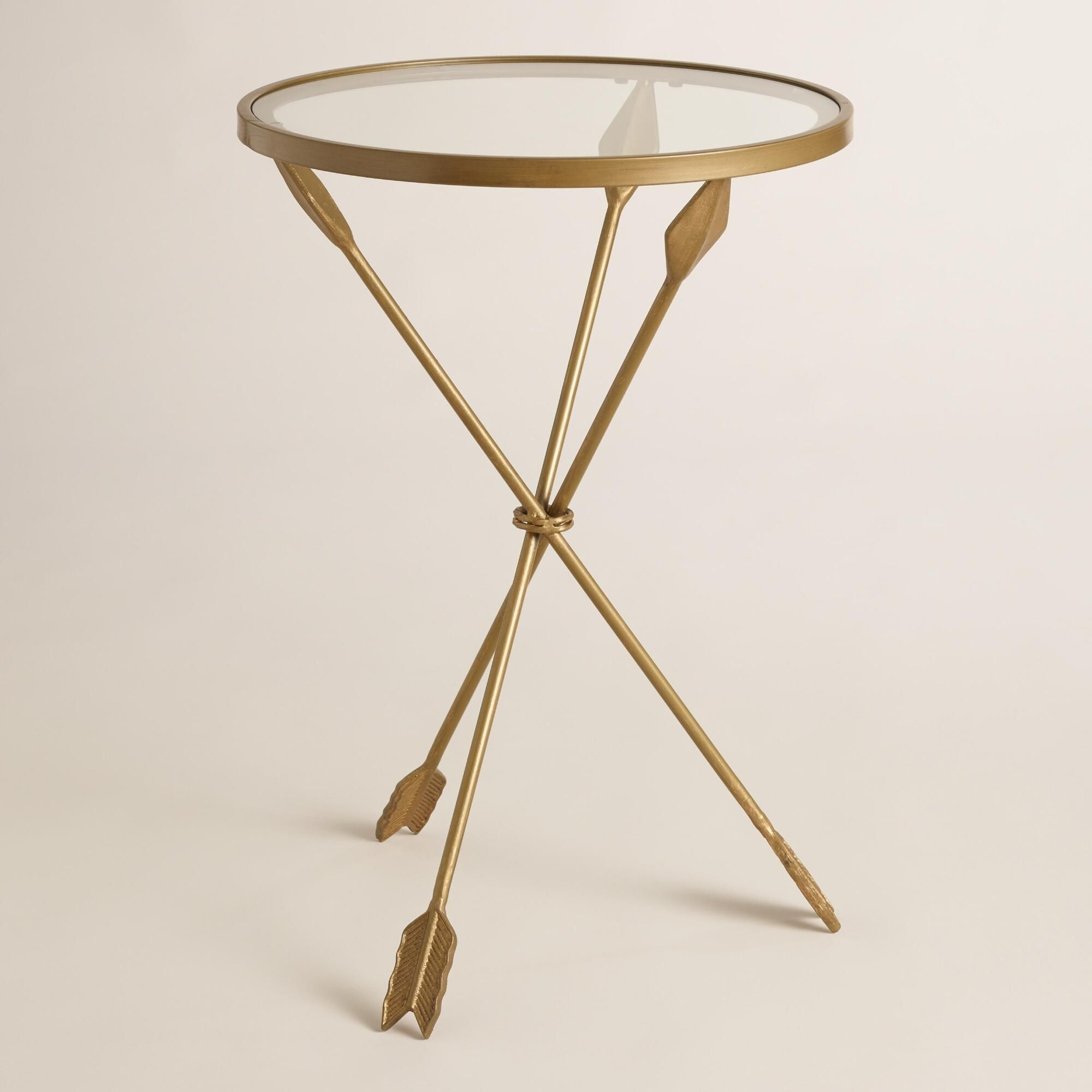 Distressed Gold Arrows Create The Tripod Base Of Our Side Table, A with Jackson Marble Side Tables (Image 9 of 30)