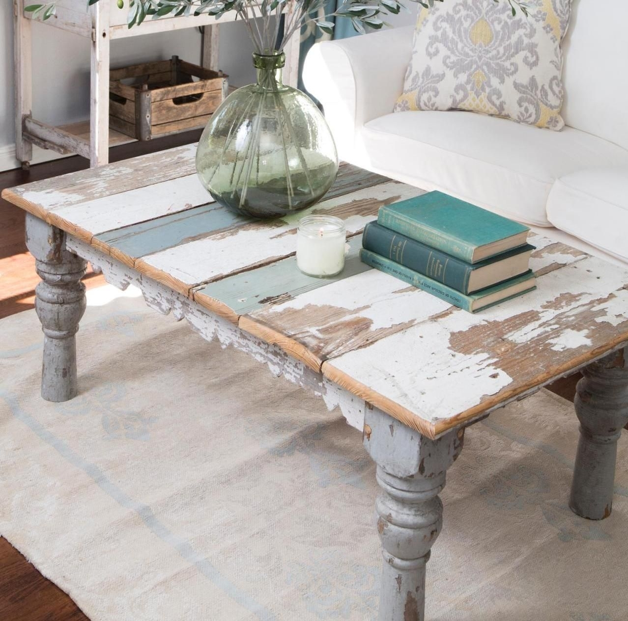 Distressed Painted Coffee Table … | A Florida Home | Pinterest for Large-Scale Chinese Farmhouse Coffee Tables (Image 9 of 30)