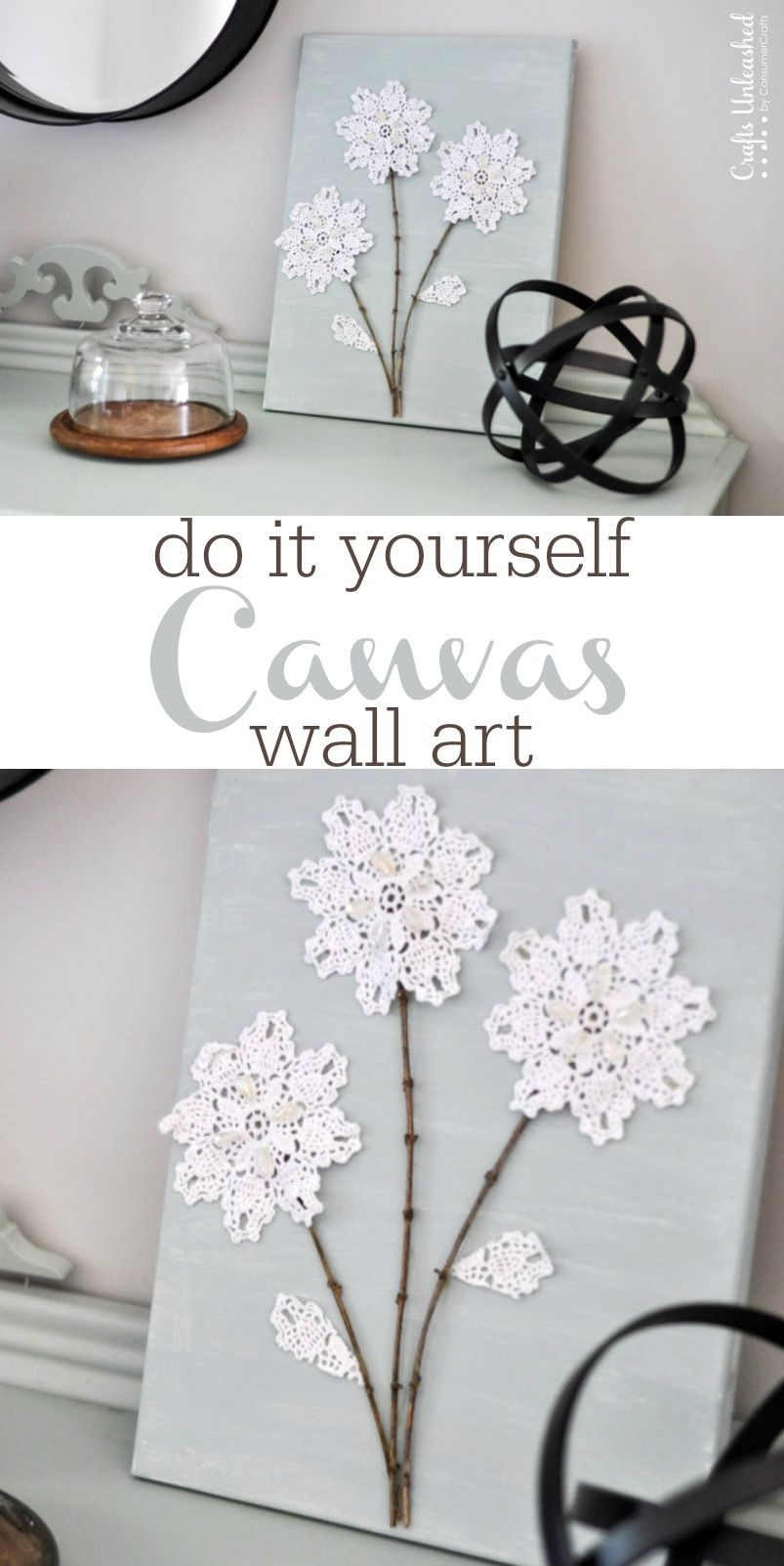 Diy Canvas Wall Art: Shabby Chic Flowers - Crafts Unleashed | Things with Shabby Chic Wall Art (Image 5 of 20)