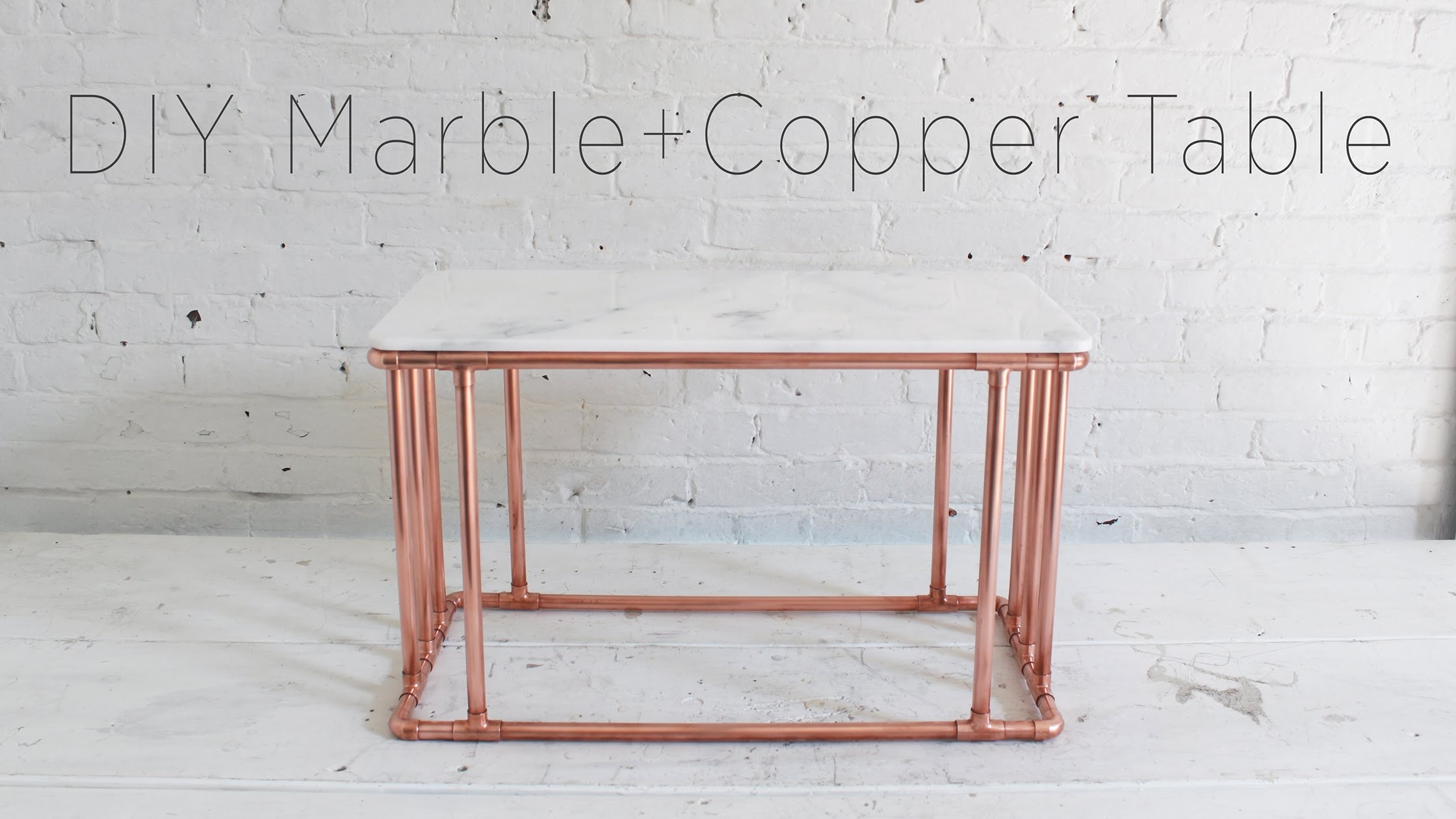 Diy Copper Coffee Table With A Marble Top – Youtube Inside Smart Round Marble Top Coffee Tables (View 11 of 30)