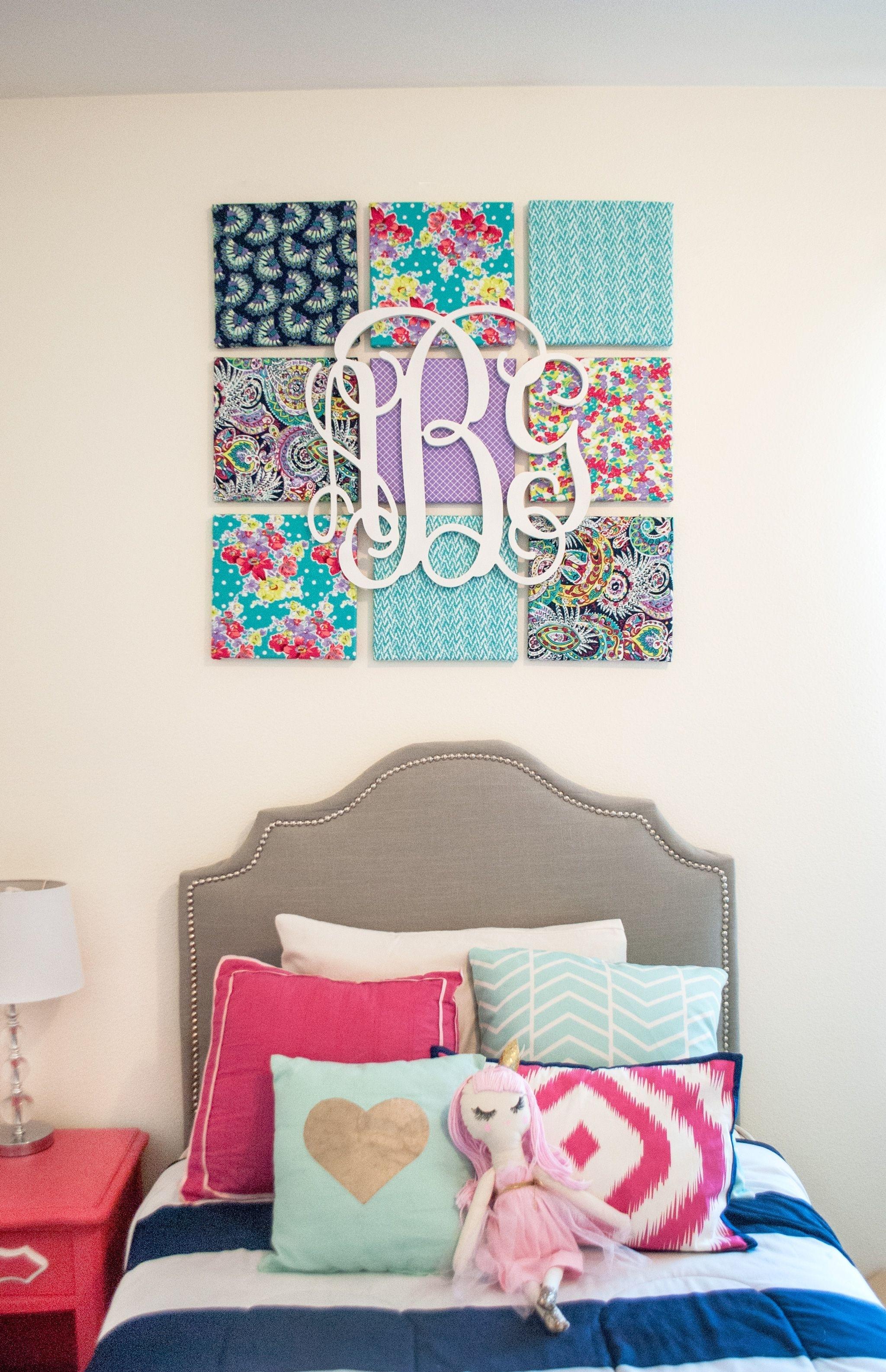 Diy Fabric Wall Art | Children's Room Diy Ideas | Pinterest inside Monogram Wall Art (Image 2 of 20)