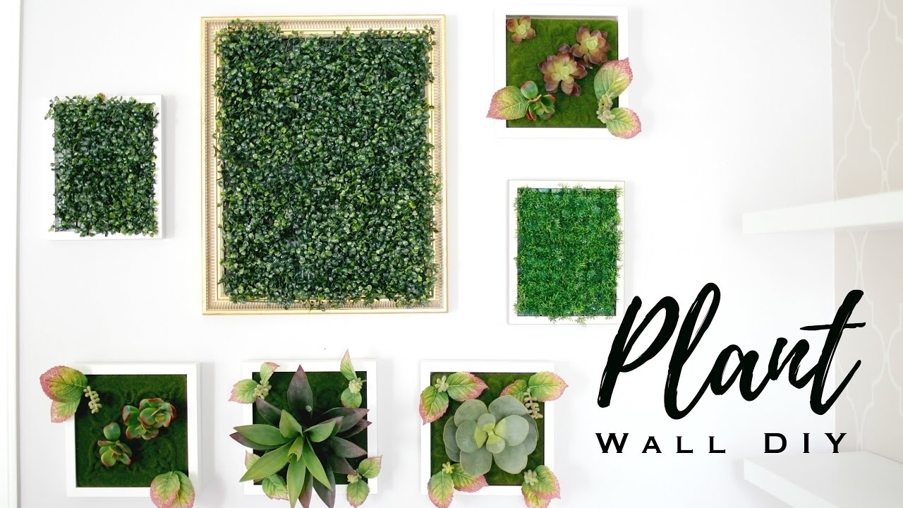 Diy Faux Plant Wall Art – Youtube Pertaining To Green Wall Art (View 7 of 20)
