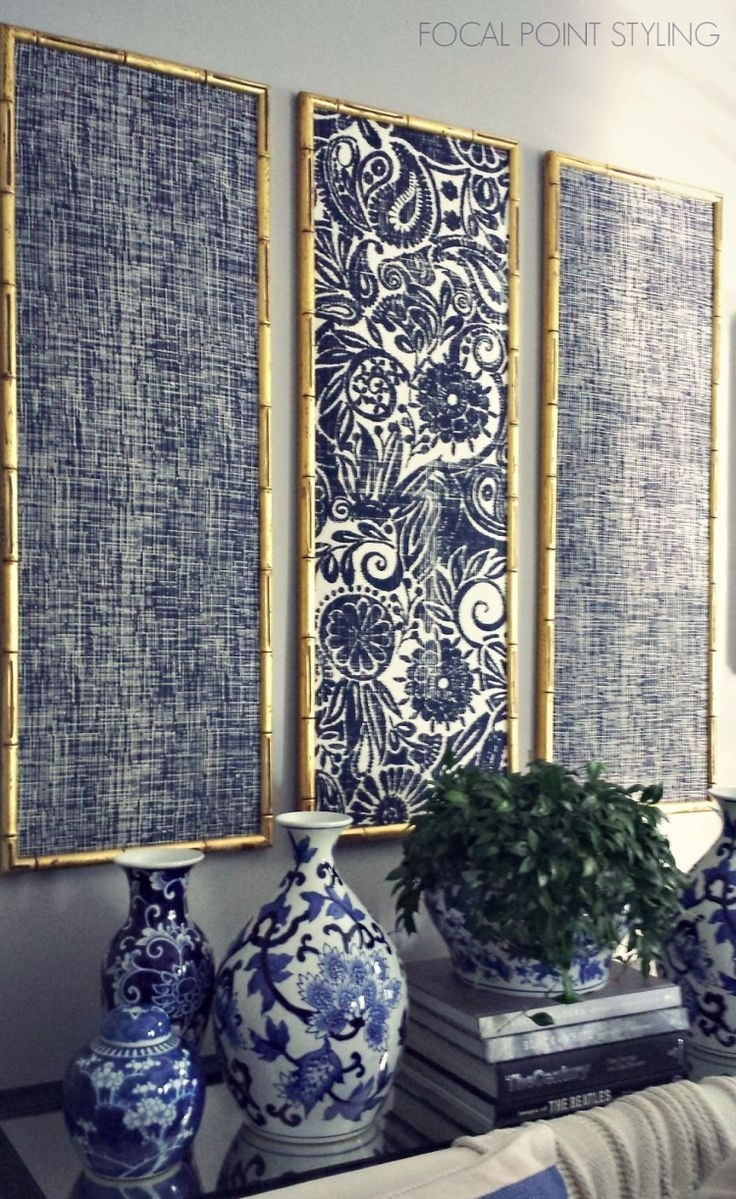 Diy Indigo Wall Art With Framed Fabric | Timeless: Blue & White in Fabric Wall Art (Image 6 of 20)