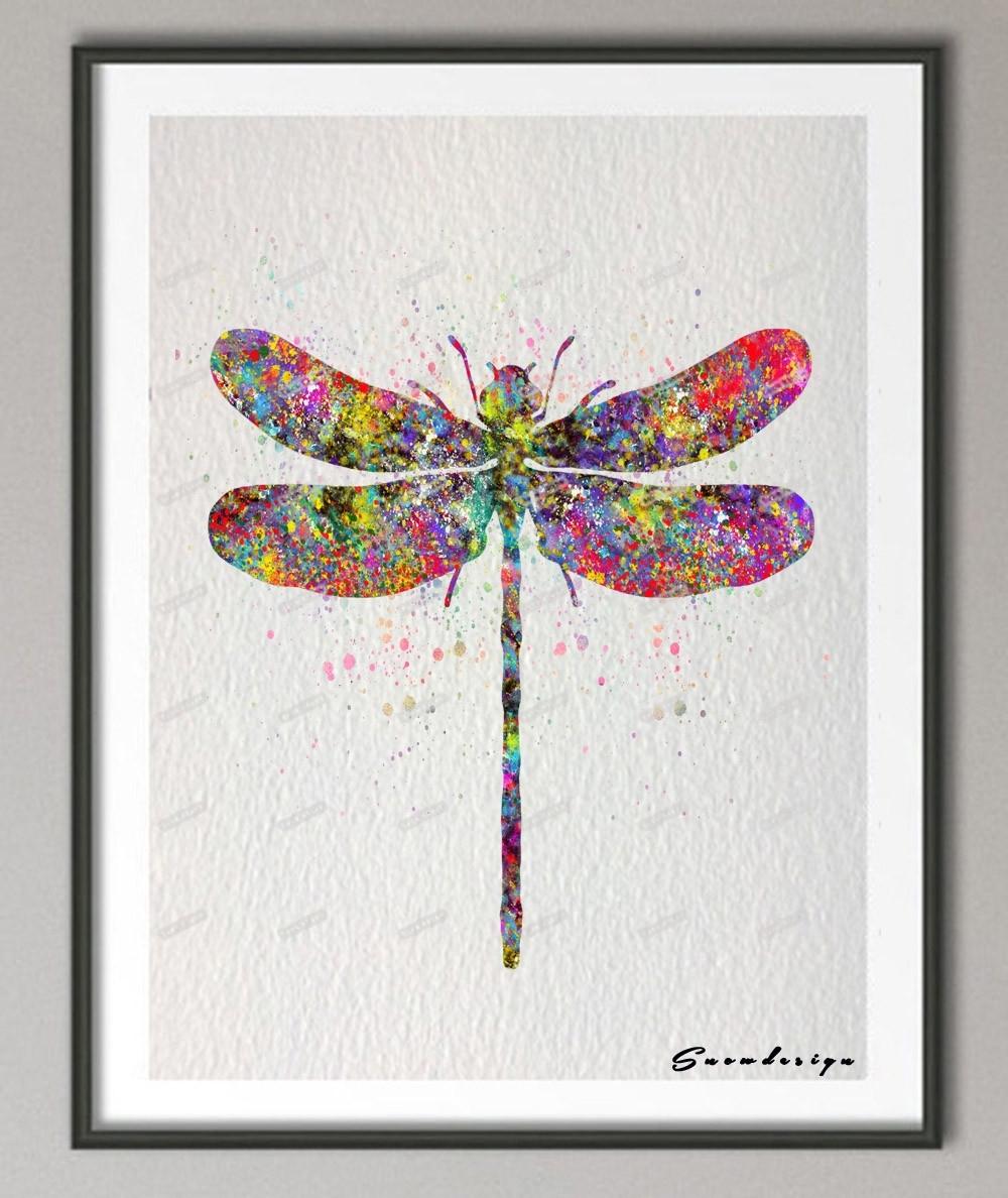 Diy Original Watercolor Dragonfly Canvas Painting Pop Wall Art Within Dragonfly Painting Wall Art (View 2 of 20)