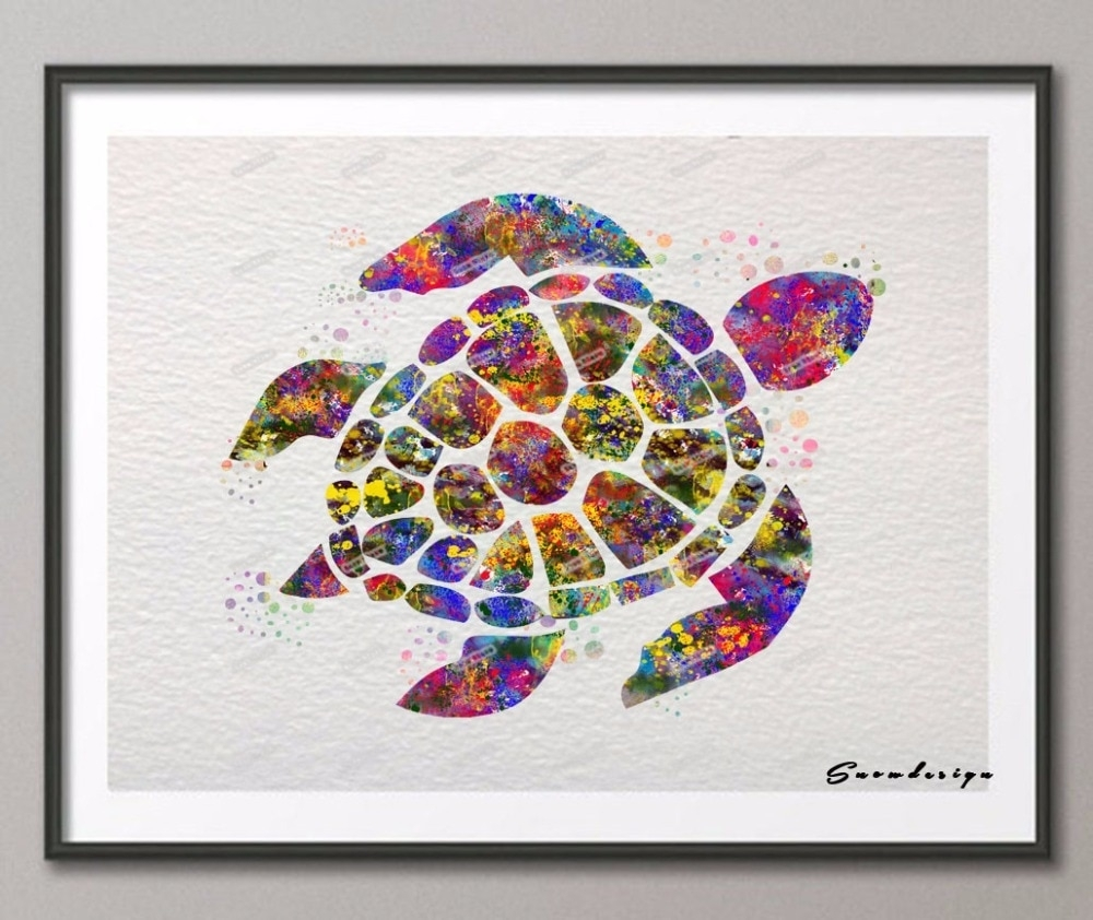 Diy Original Watercolor Sea Turtle Canvas Painting Pop Wall Art In Sea Turtle Canvas Wall Art (View 10 of 20)