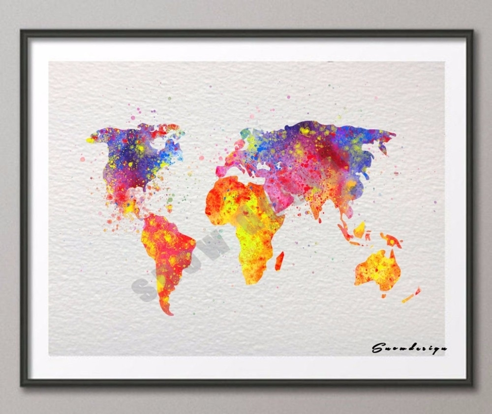 Diy Original Watercolor World Map Wall Art Canvas Painting Poster within Diy World Map Wall Art (Image 4 of 20)