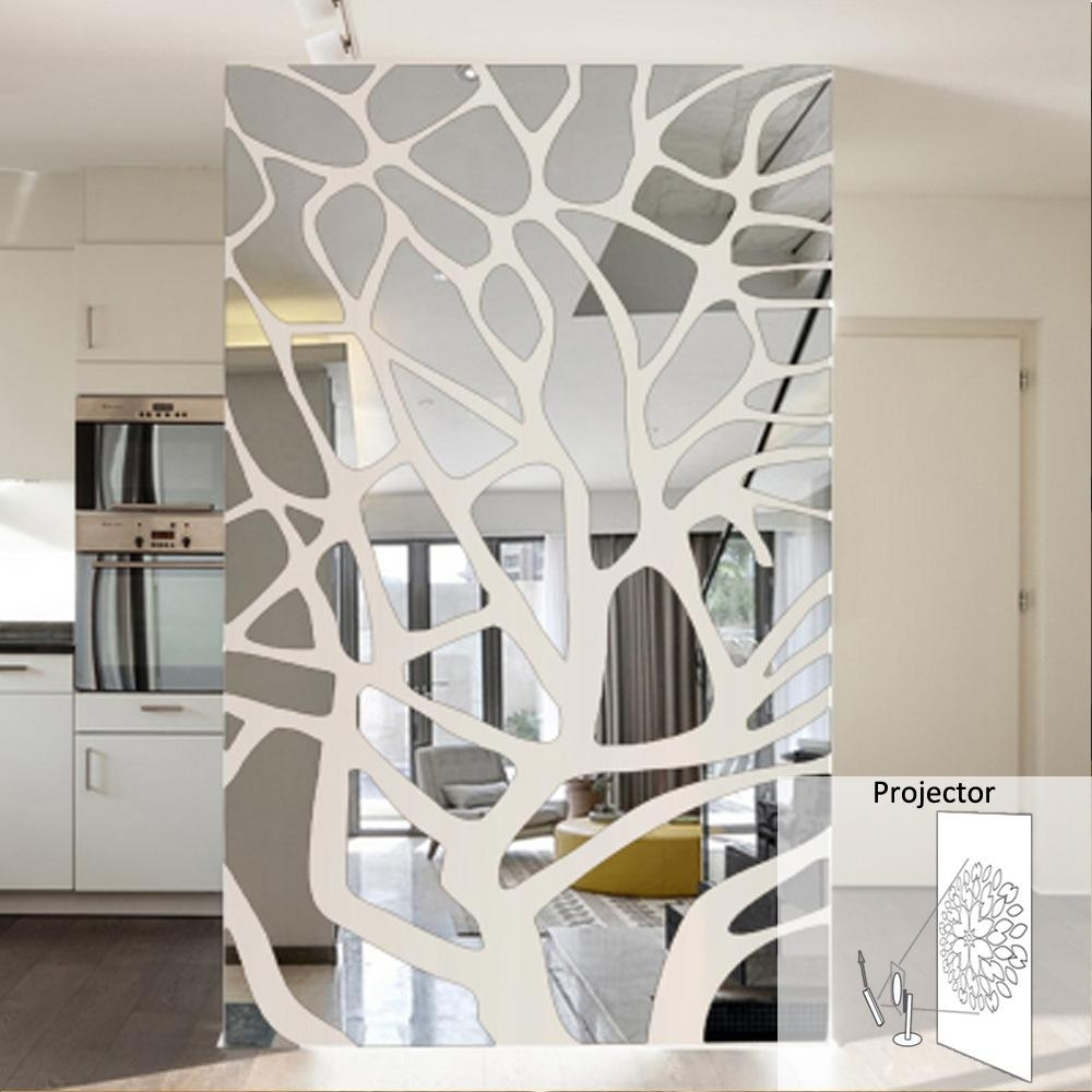 Diy Splice Mirror Wall Stickers New House Marriage Room Decoration with regard to Mirrored Wall Art (Image 6 of 20)