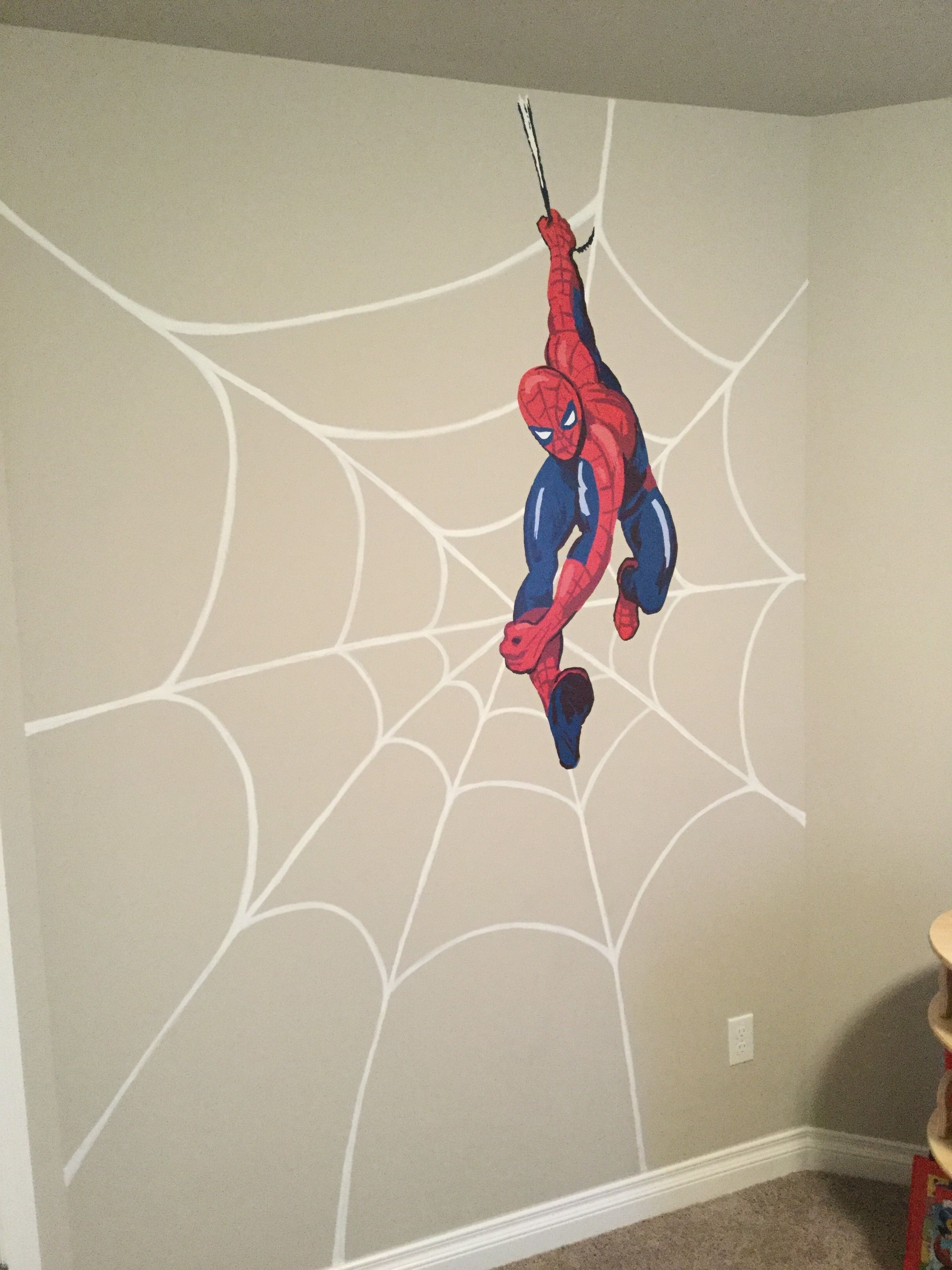 Diy Superhero Wall Art! Handpainted Spider Web With Pottery Barn pertaining to Superhero Wall Art (Image 6 of 20)
