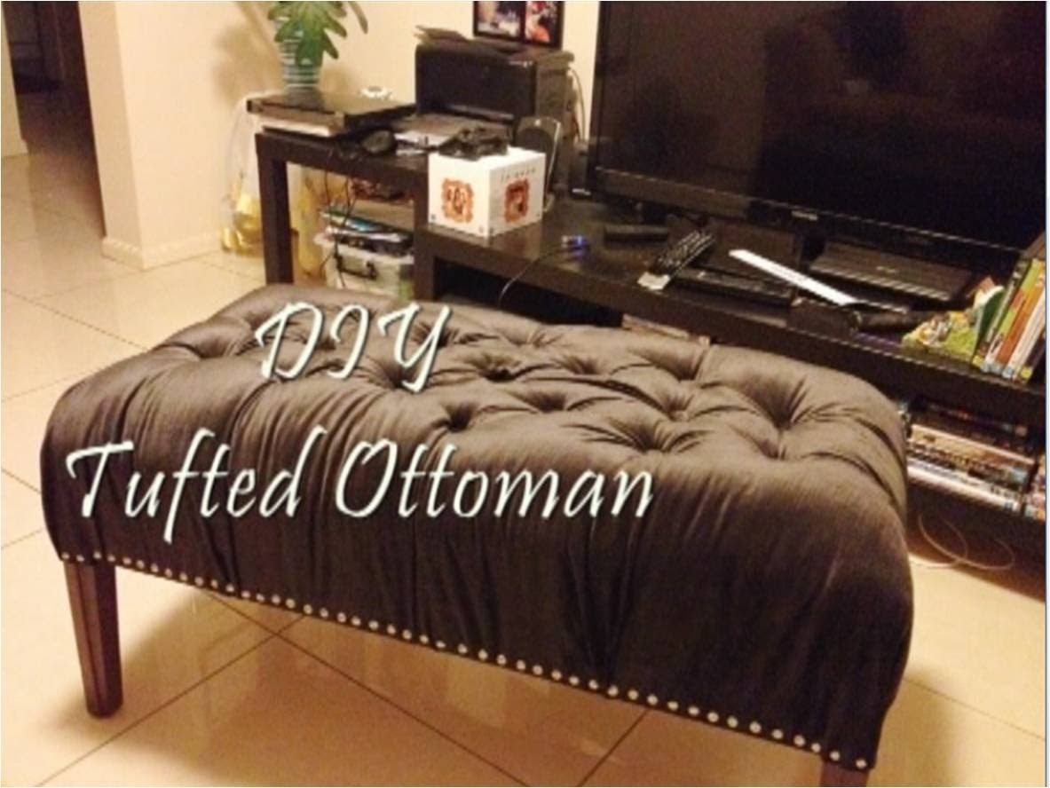 Diy Tufted Ottoman Bench - Youtube intended for Button Tufted Coffee Tables (Image 10 of 30)