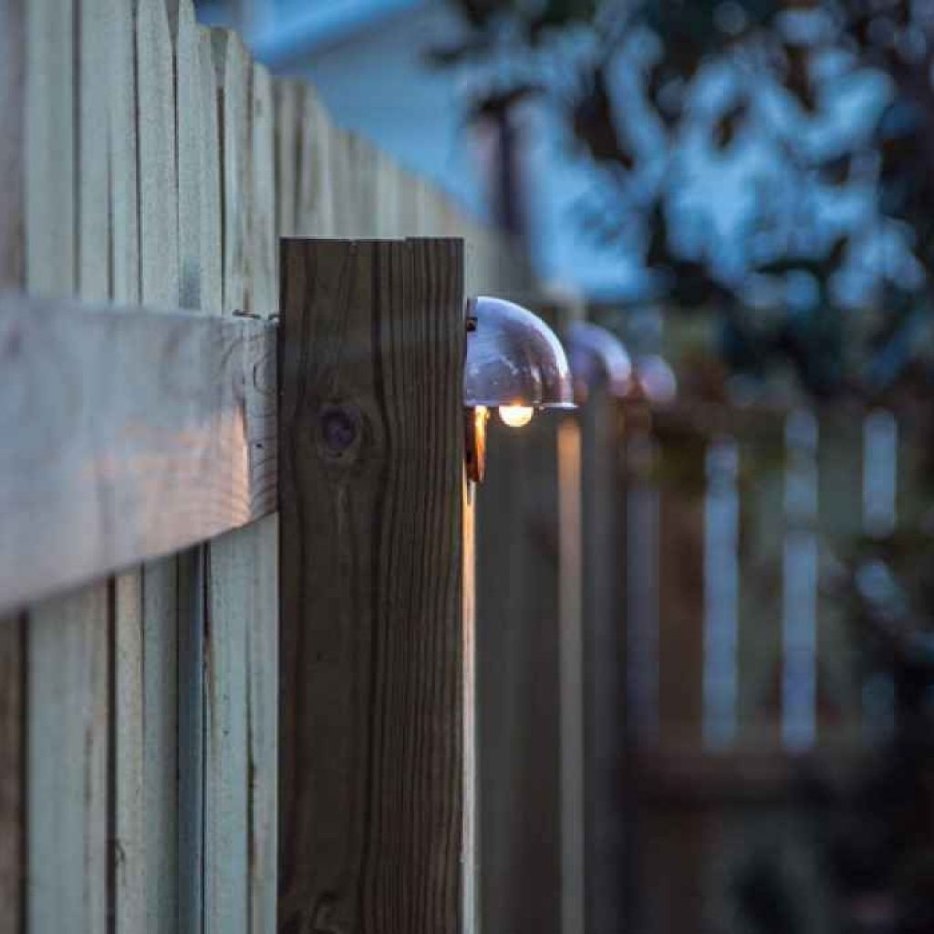 Diy Wood Privacy Fence With Accent Lighting – Outdoor Lights For Regarding Diy Outdoor Lanterns (View 19 of 20)
