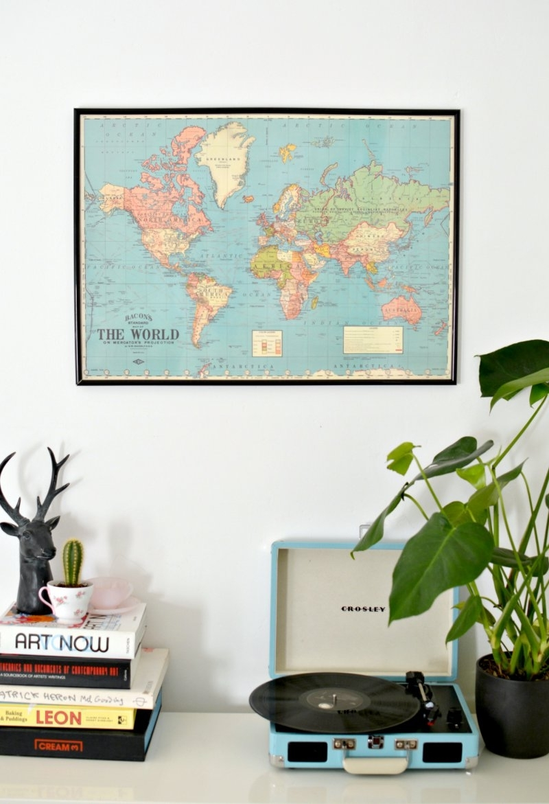 Diy World Map Wall Art | Burkatron with regard to Diy World Map Wall Art (Image 9 of 20)