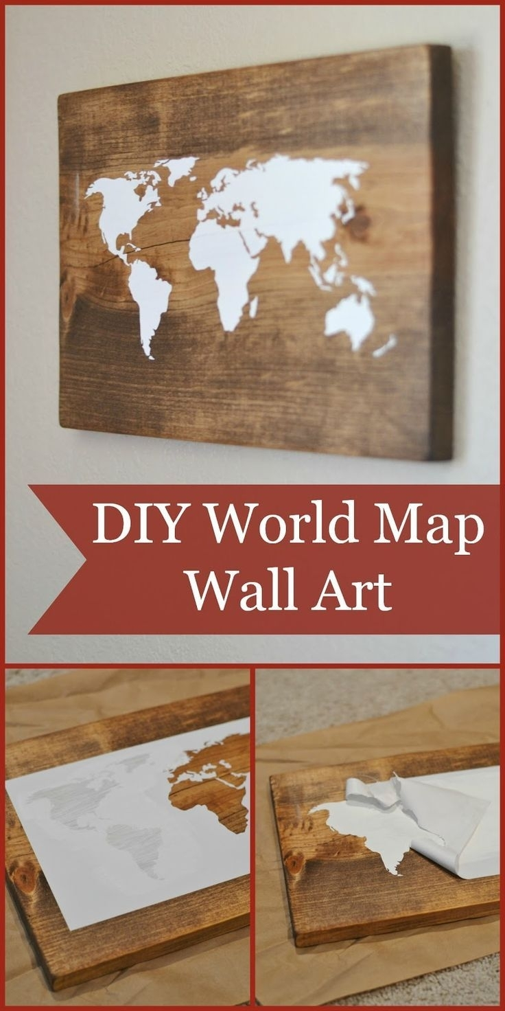 Diy World Map Wall Art Tutorial (Using The Silhouette Cameo) Could for Diy World Map Wall Art (Image 8 of 20)