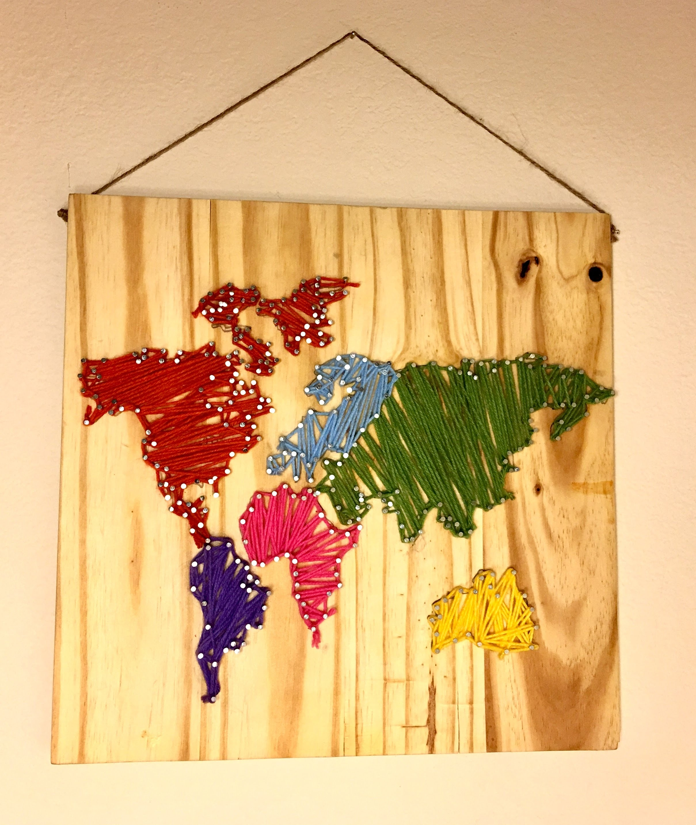 Diy World Map Wall Nail String Art [Timelapse] – Youtube Regarding String Map Wall Art (View 5 of 20)